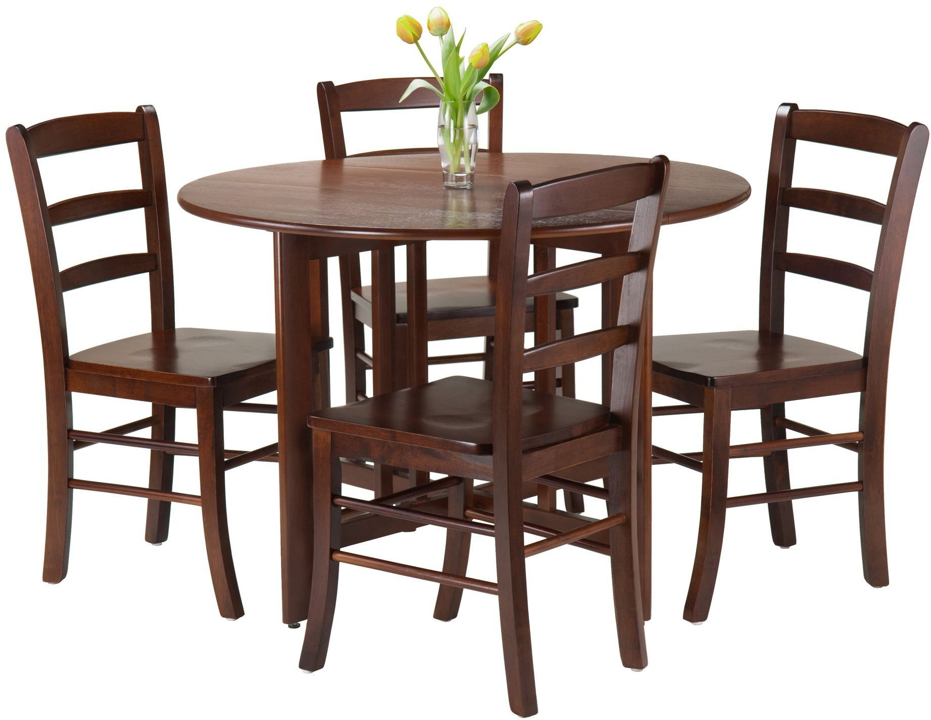 alamo walnut 5 piece round drop leaf dining set with 4 ladder back chairs from winsomewood. Black Bedroom Furniture Sets. Home Design Ideas