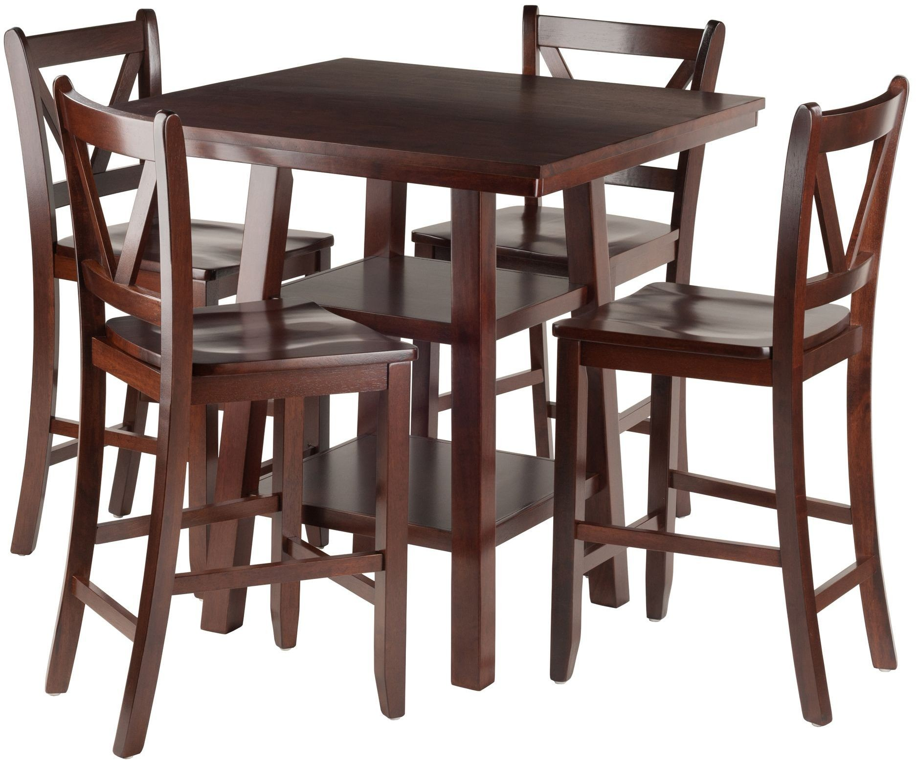 Orlando 5 Piece Walnut Counter Height Dining Set With V