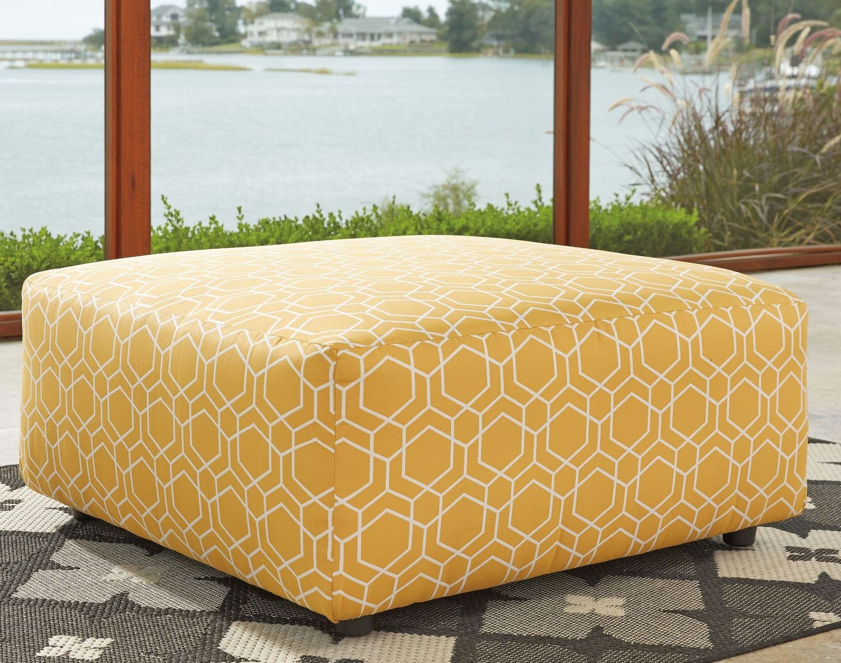 Ayanna Nuvella Gold Oversized Accent Ottoman From Ashley