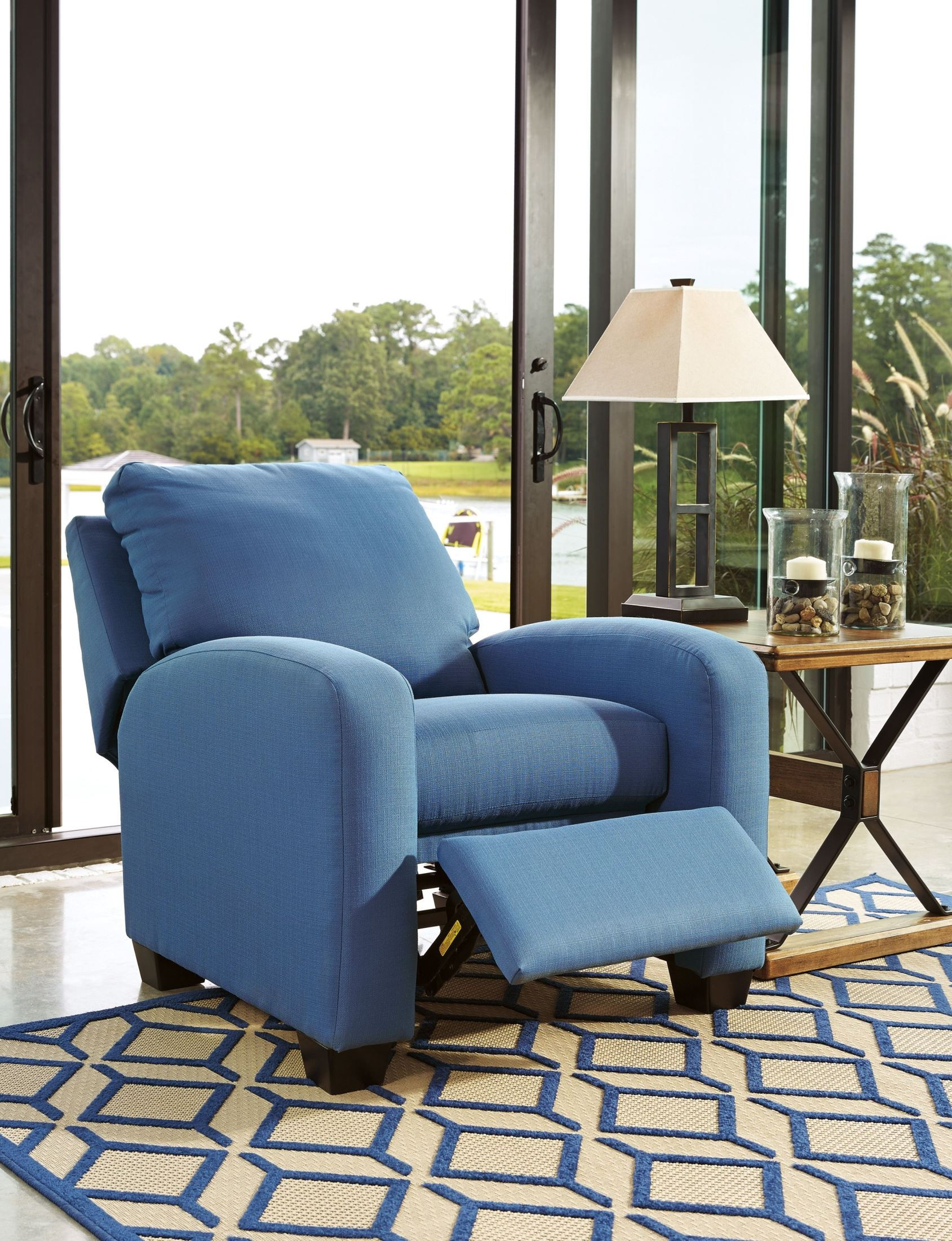 Ayanna Nuvella Blue Low Leg Recliner 9470330 Ashley