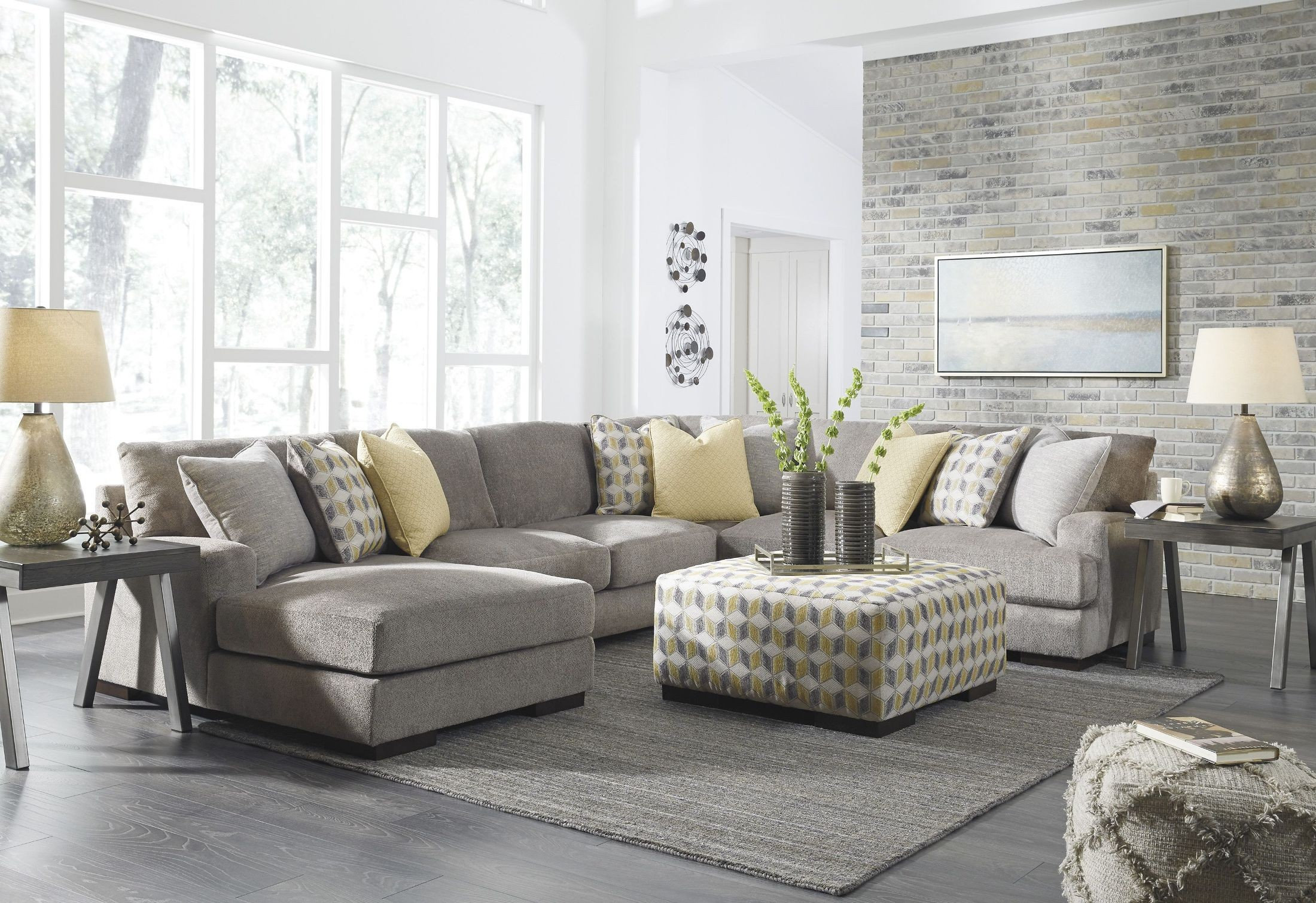 Fallsworth Smoke LAF Sectional from Ashley | Coleman Furniture