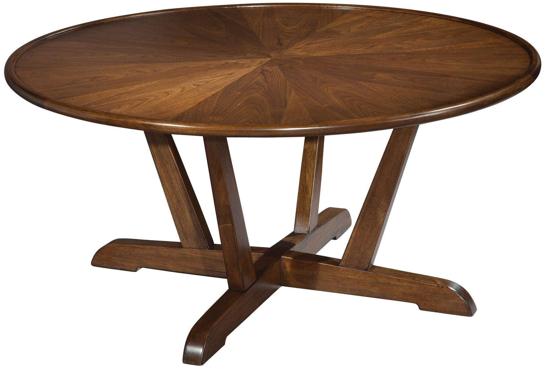 Mid Century Walnut Round Coffee Table from Hekman Furniture