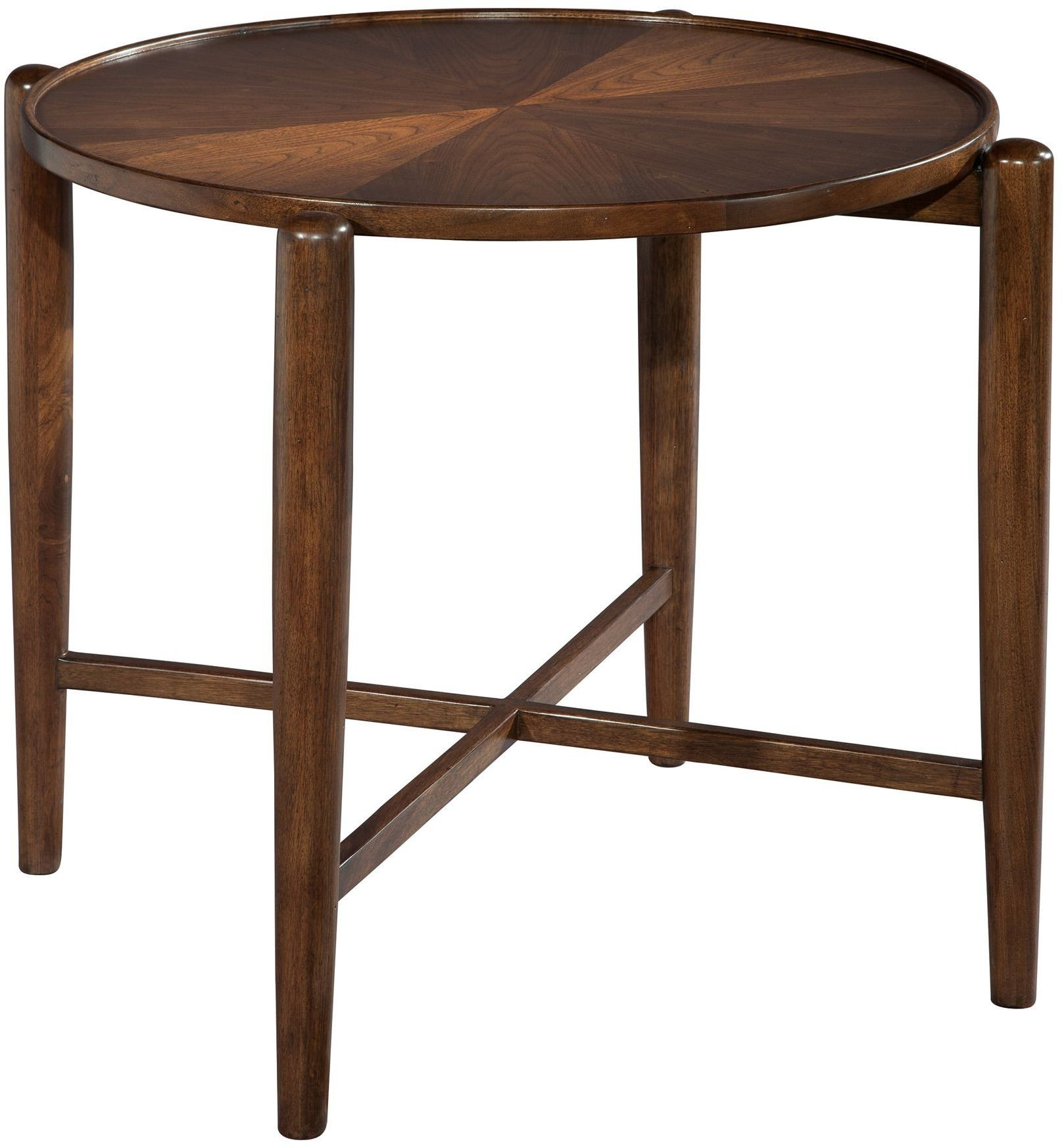 Mid century walnut round side table from hekman furniture for Walnut side table