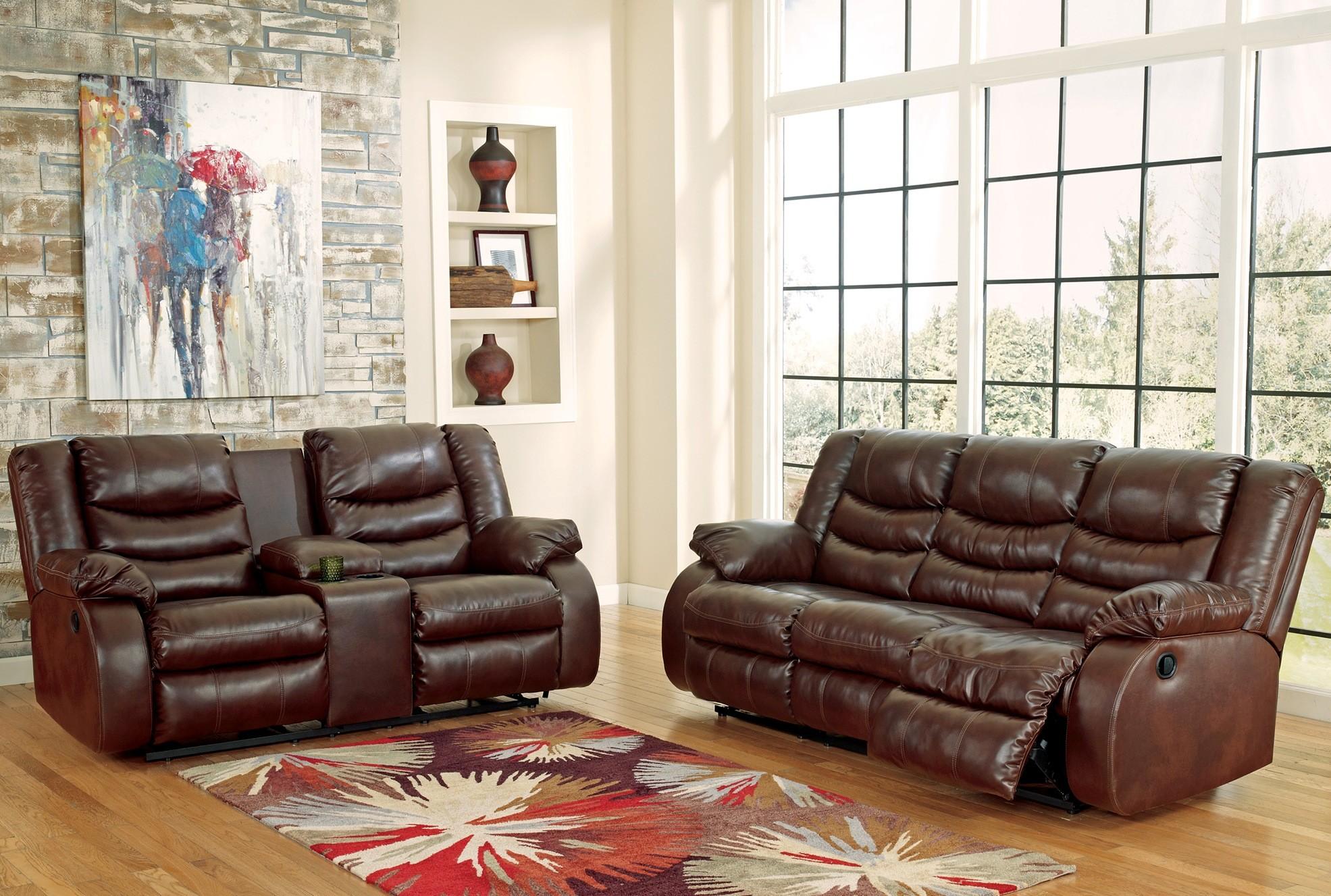 Linebacker DuraBlend Espresso Reclining Living Room Set from Ashley ...