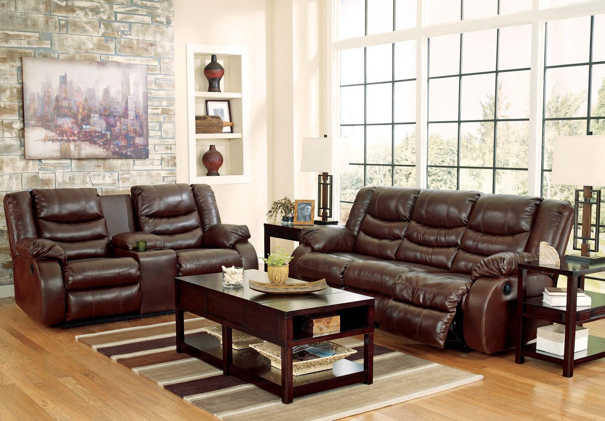 Linebacker Durablend Espresso Reclining Living Room Set