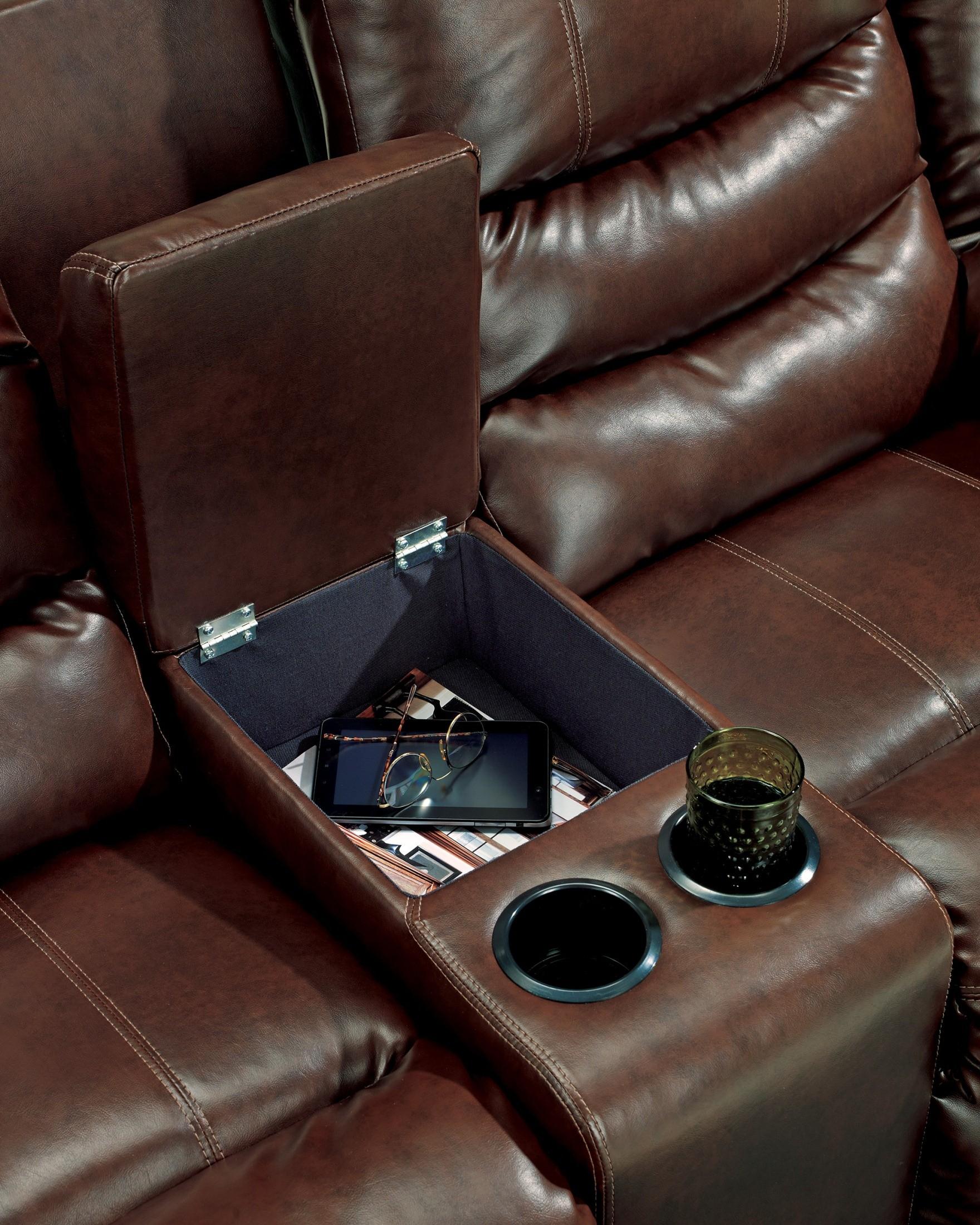 Linebacker Durablend Espresso Reclining Loveseat With
