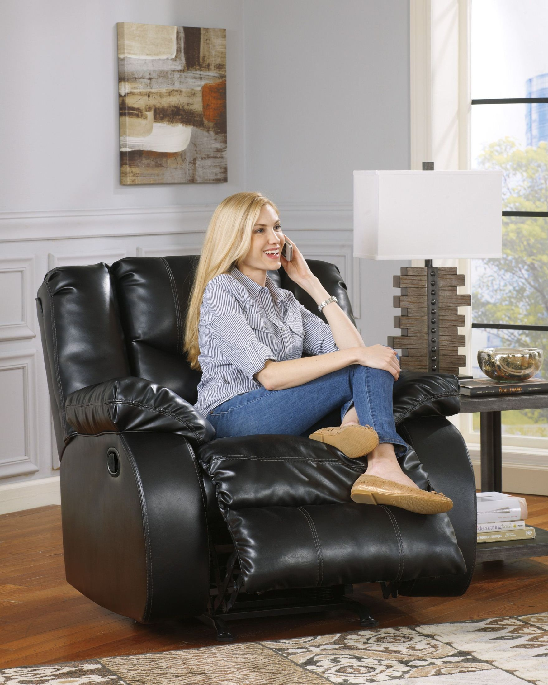 Linebacker Durablend Black Reclining Living Room Set From