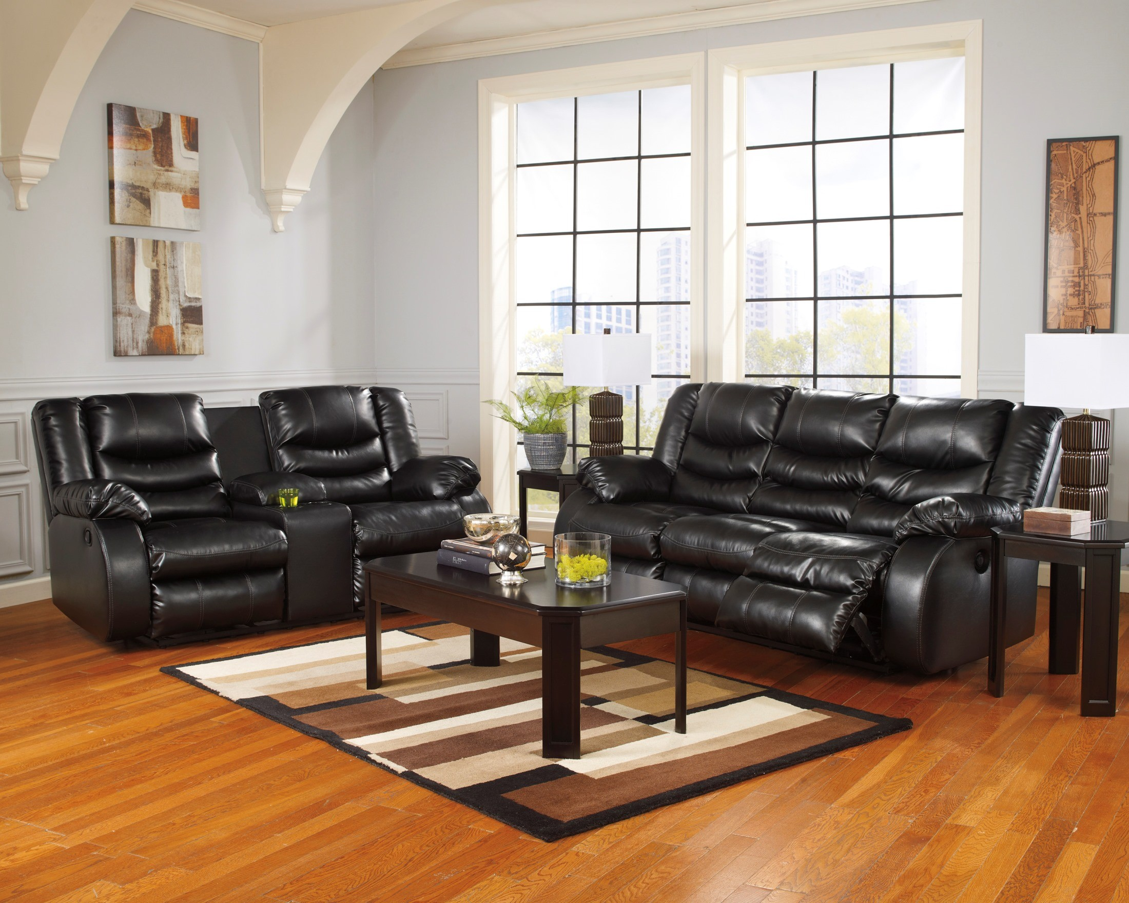 LineBacker DuraBlend Black Reclining Sofa from Ashley