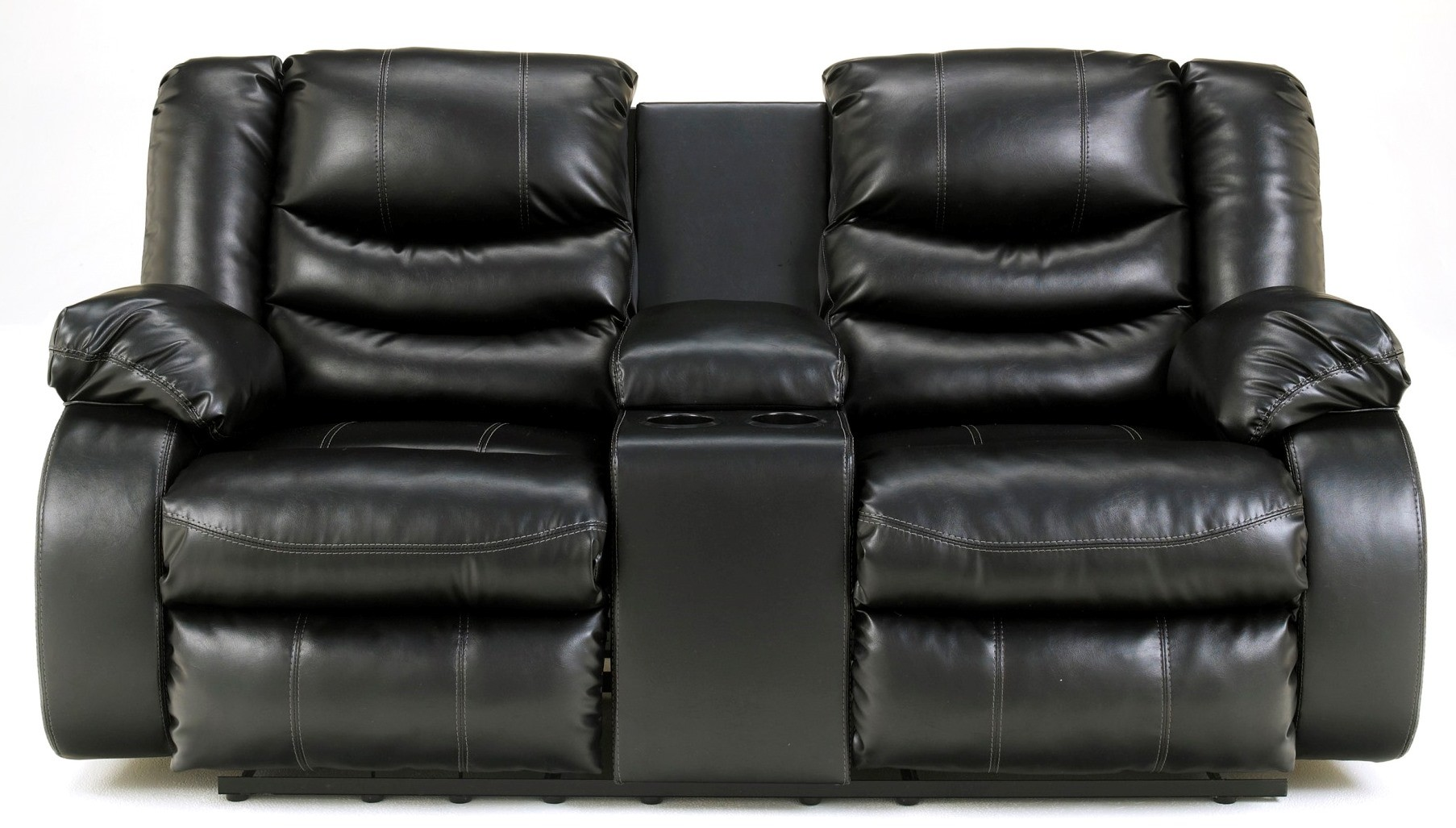Linebacker Durablend Black Double Reclining Loveseat With Console From Ashley 9520294