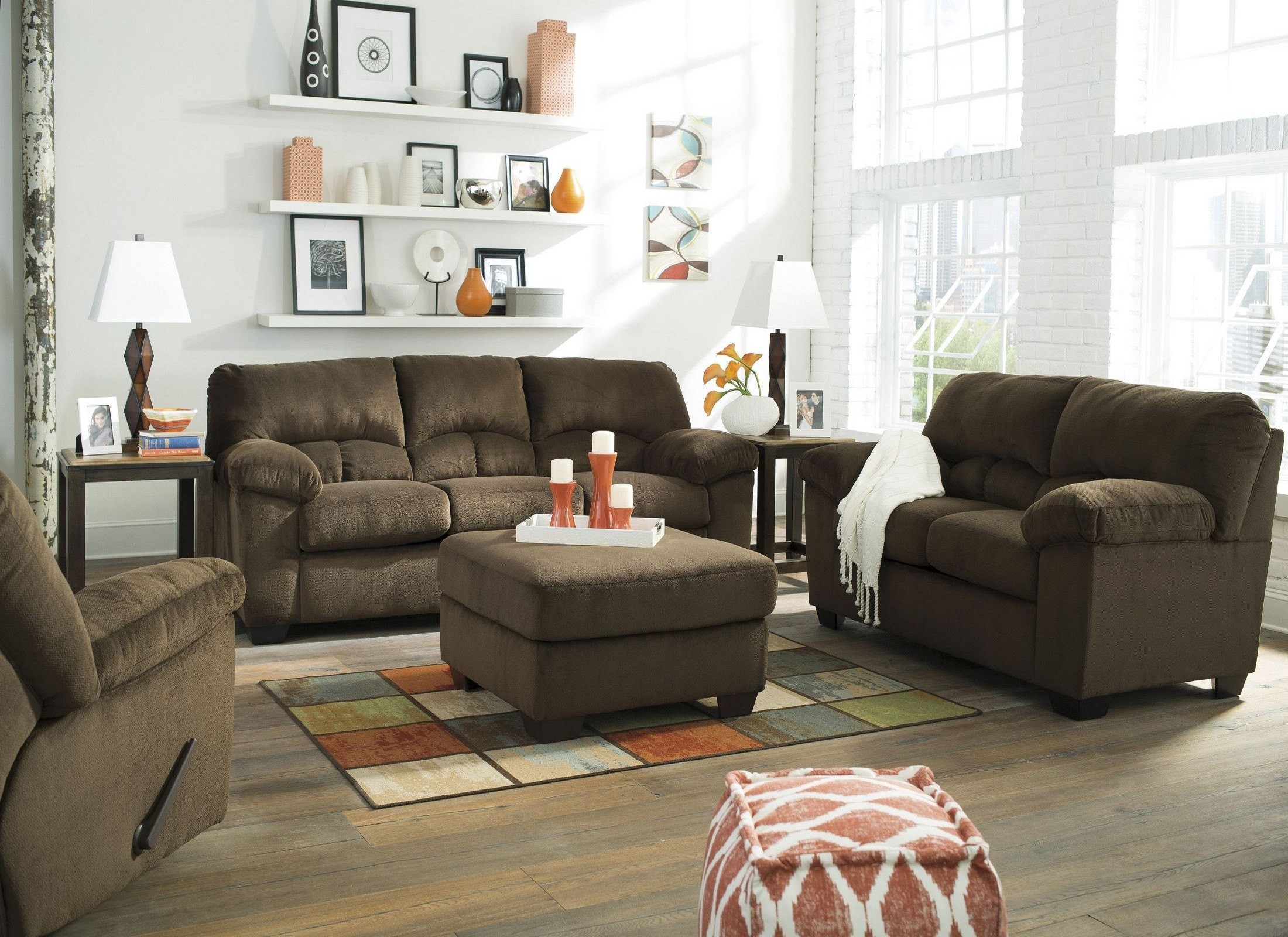 dailey chocolate living room set from ashley 9540338 coleman furniture. Black Bedroom Furniture Sets. Home Design Ideas