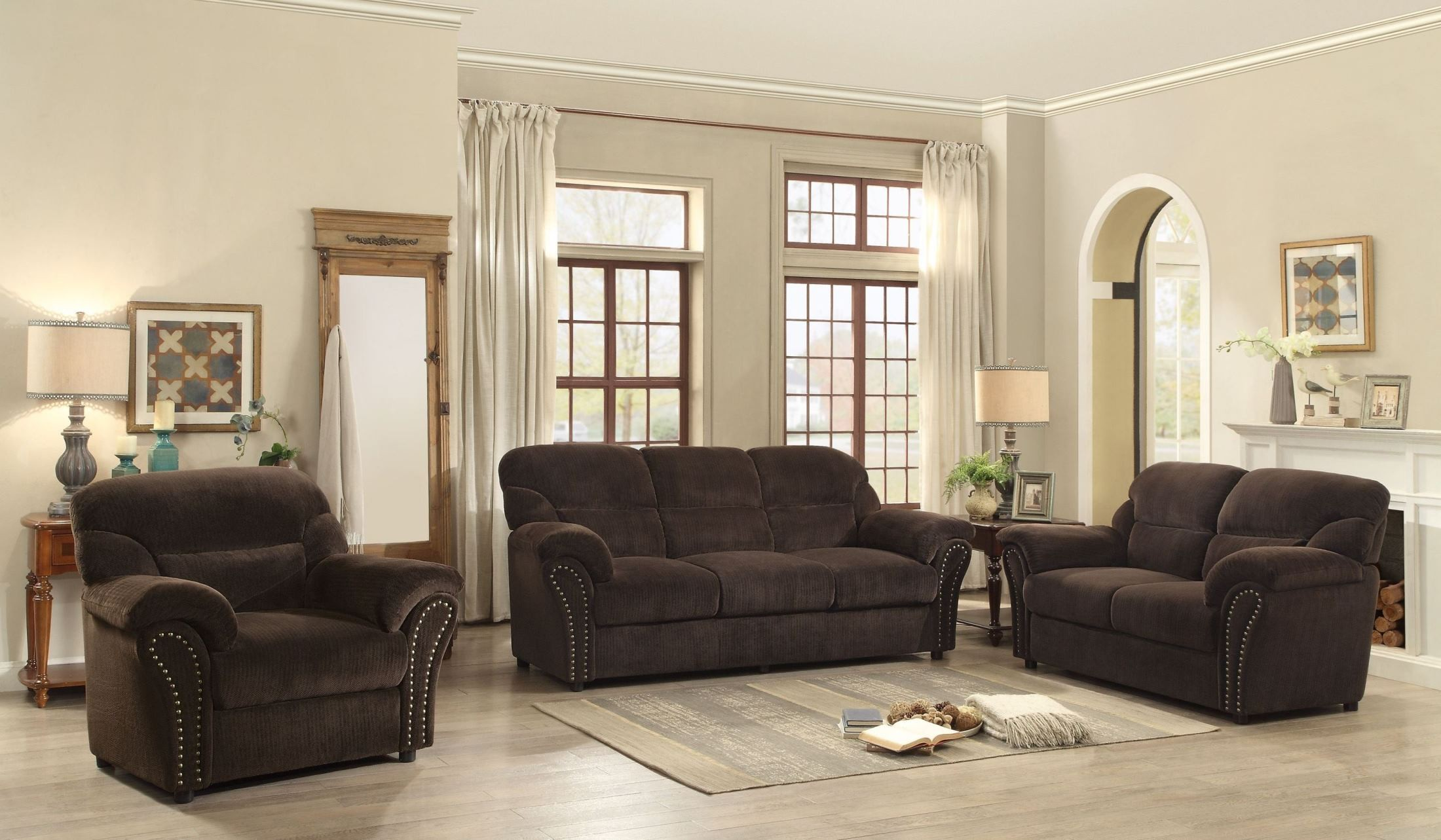 Valentina dark brown living room set from homelegance for Dark brown living room set