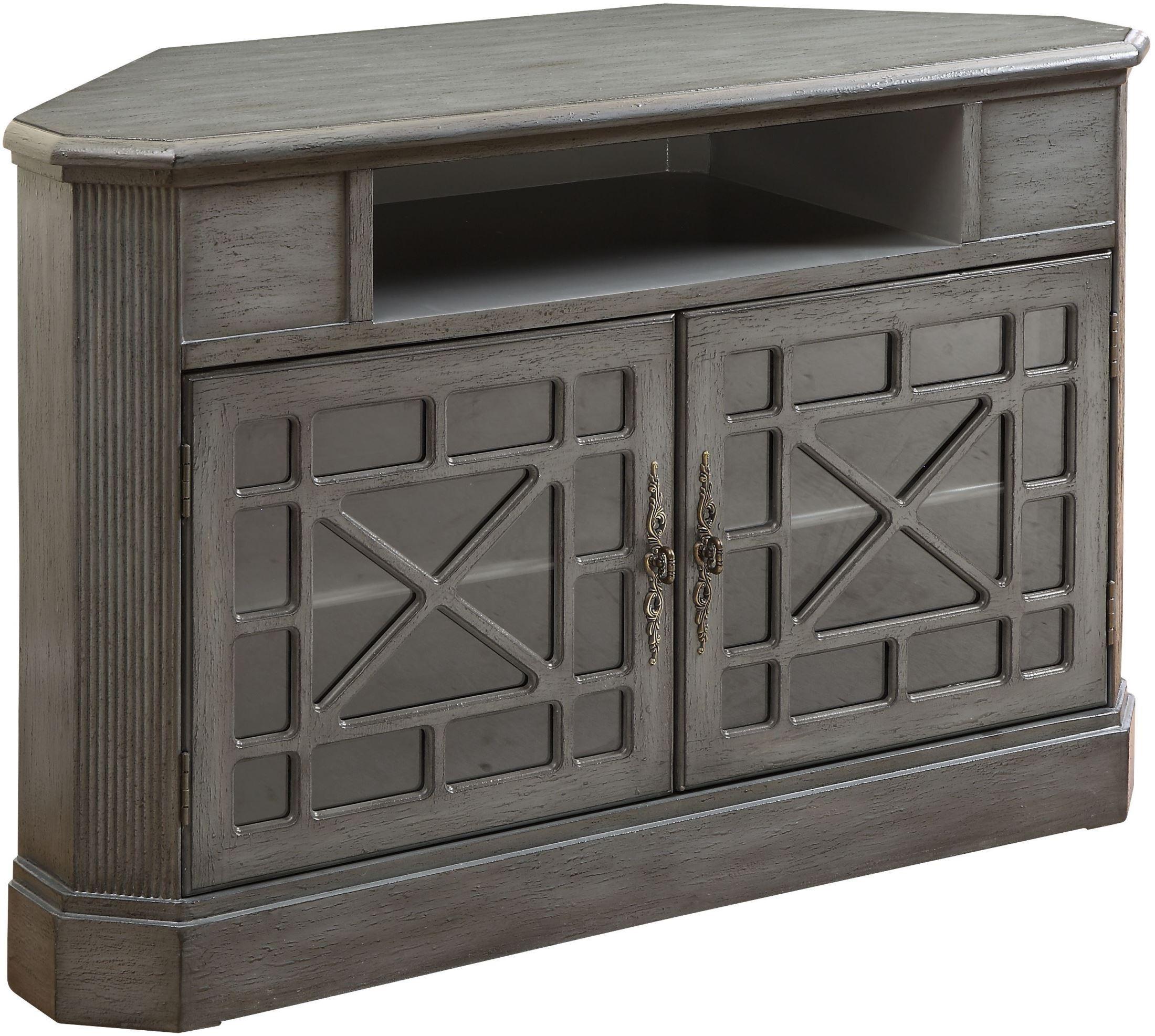 Joplin Texture Grey 2 Door Corner Media Cabinet From Coast
