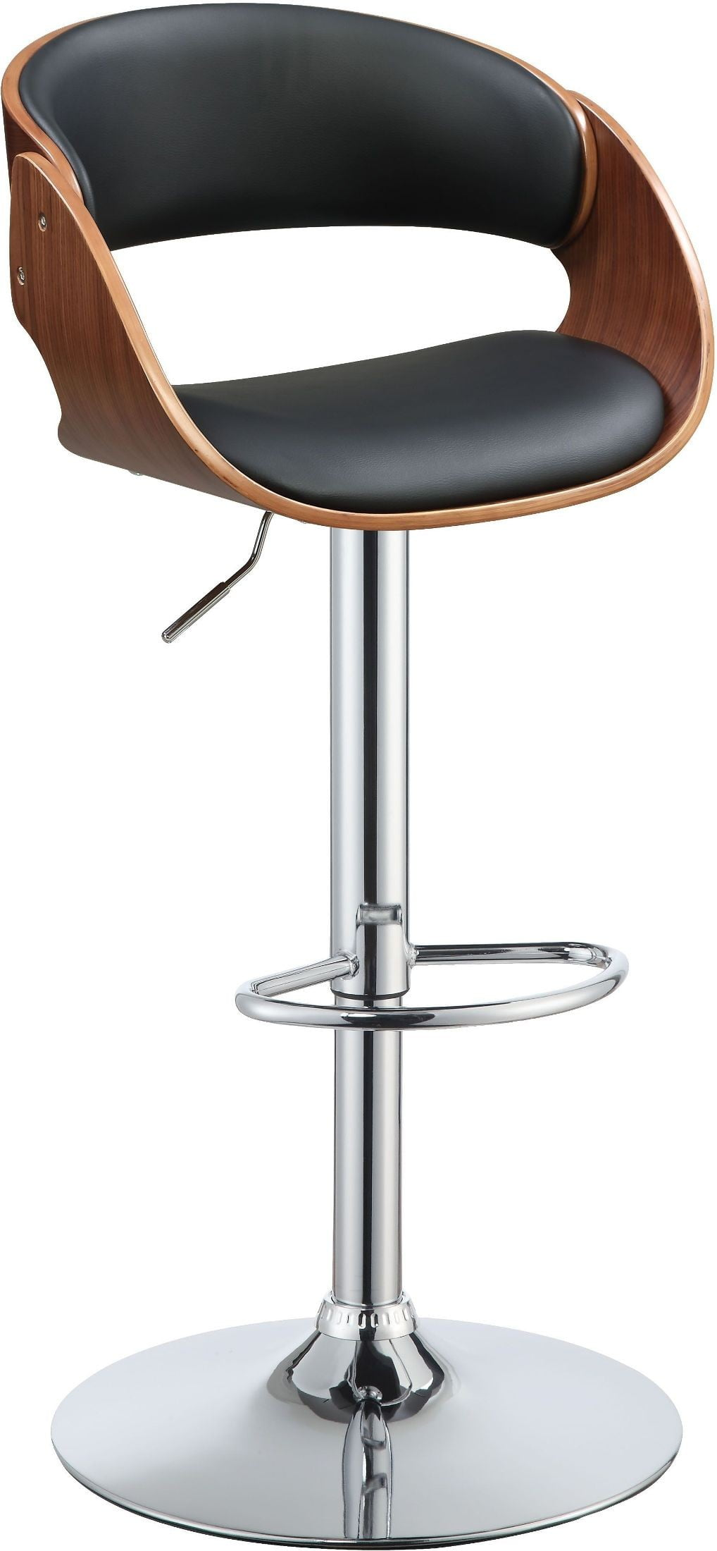 Camila Black And Wood Back Swivel Adjustable Stool From