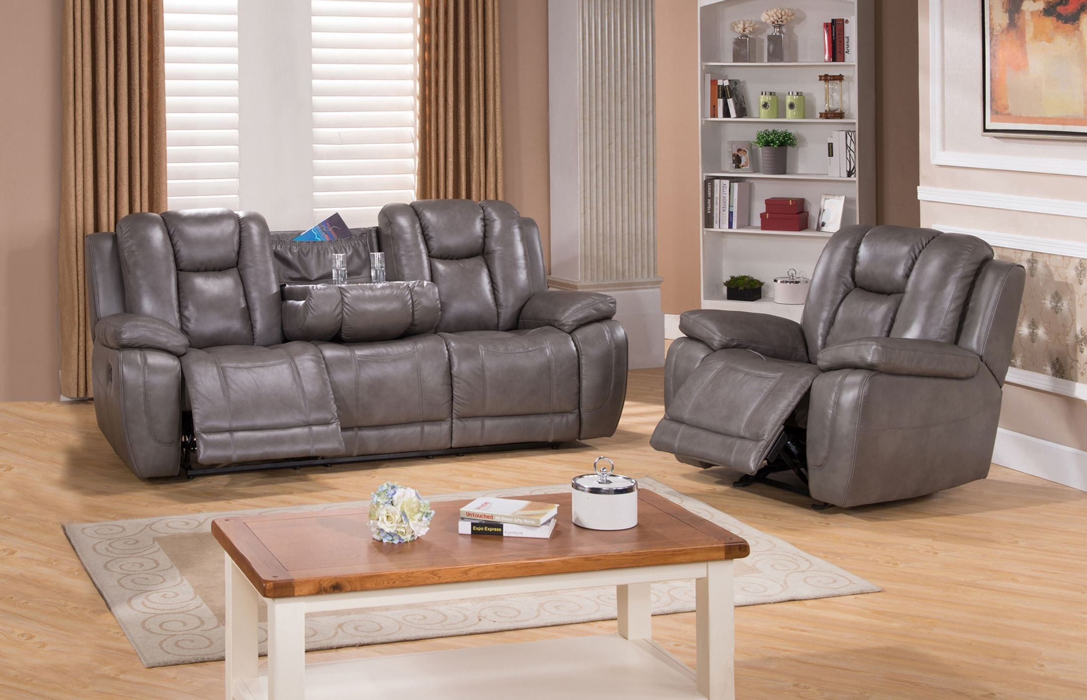 Austin Smoke Grey Reclining Sofa From Amax Leather