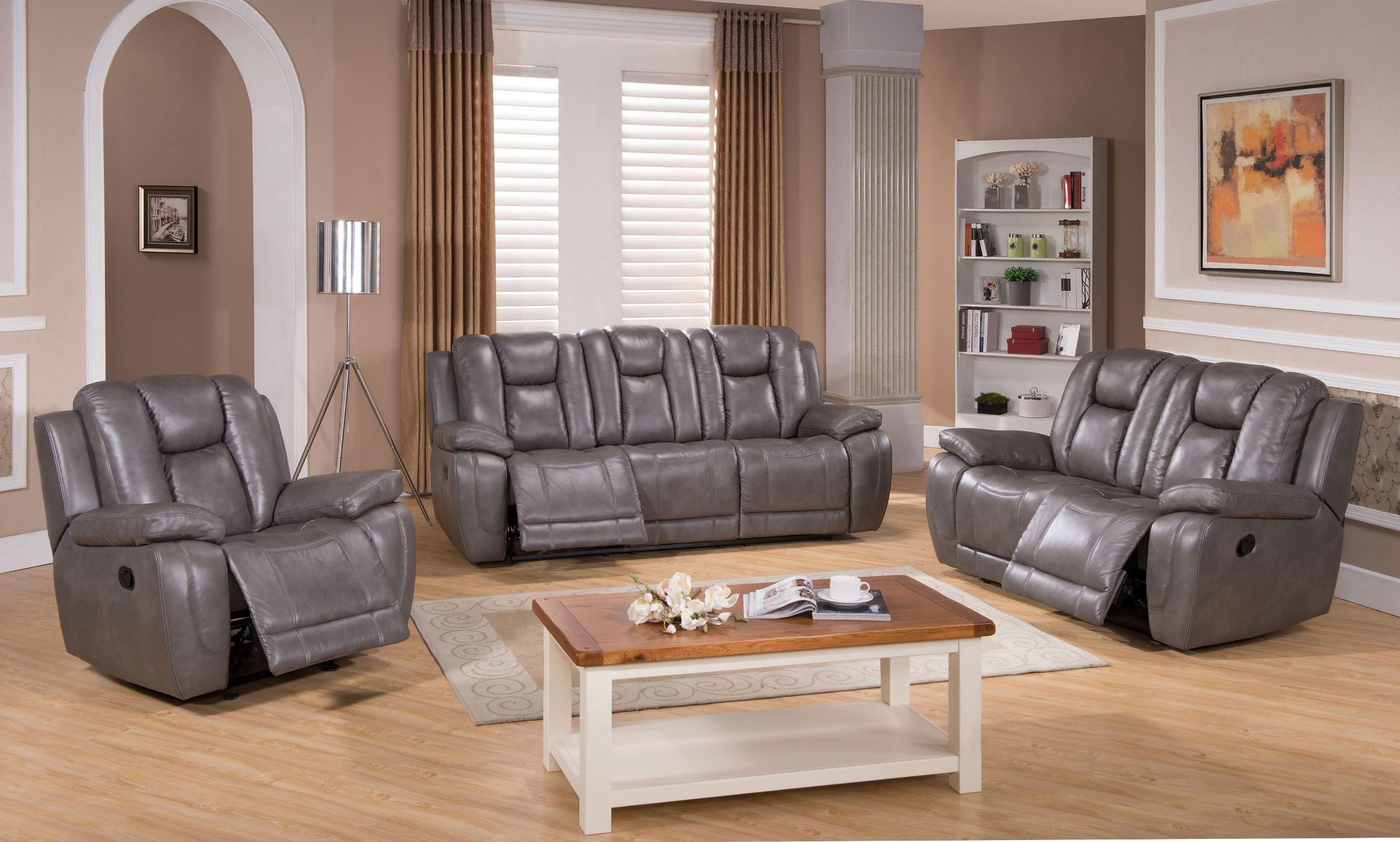 gray leather living room furniture smoke grey reclining living room set from amax 20699