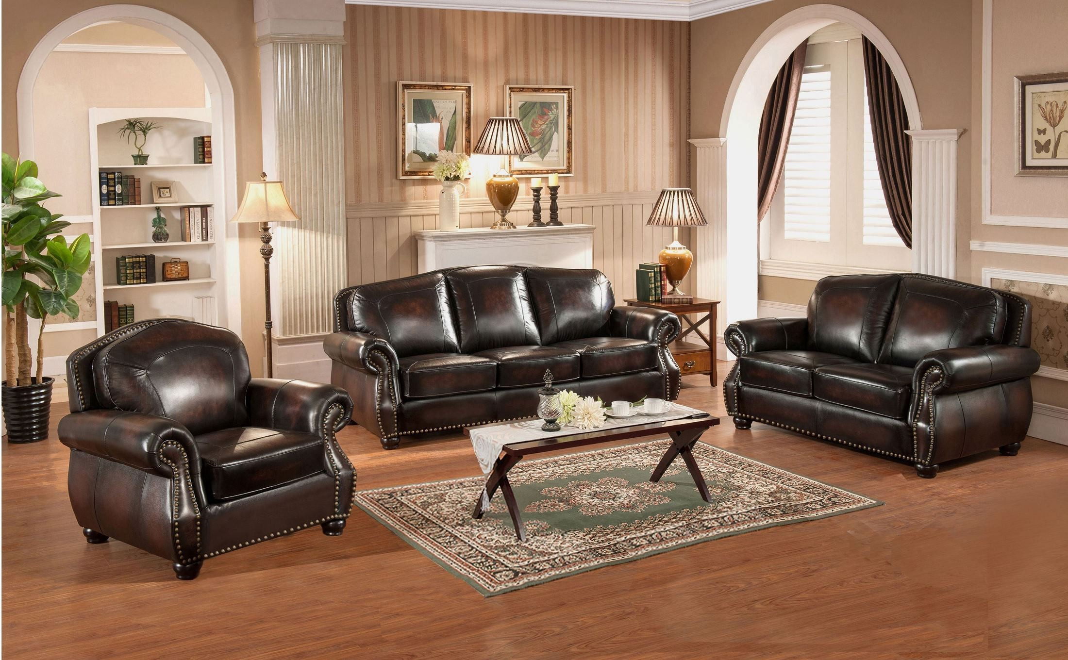 Brown Leather Living Room Set : Hyde Brown Leather Living Room Set from Amax Leather ...