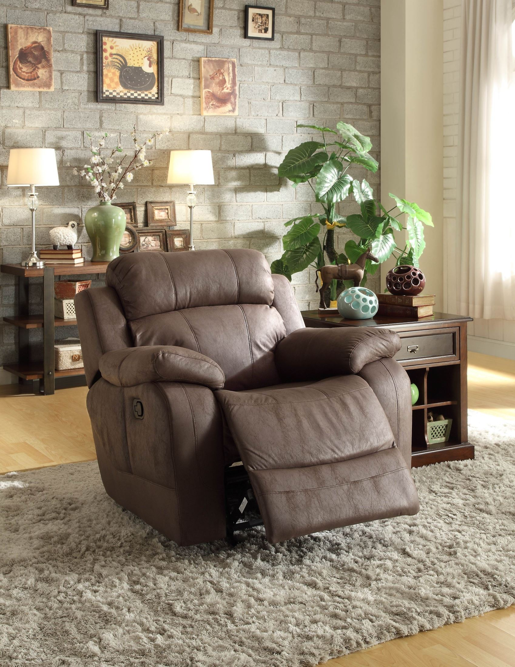 Marille Brown Glider Reclining Chair From Homelegance