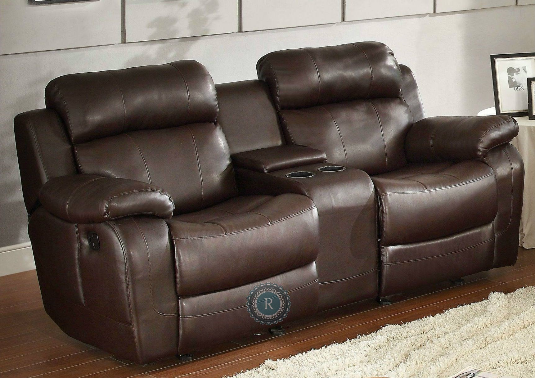 Marille Dark Brown Double Glider Reclining Loveseat From
