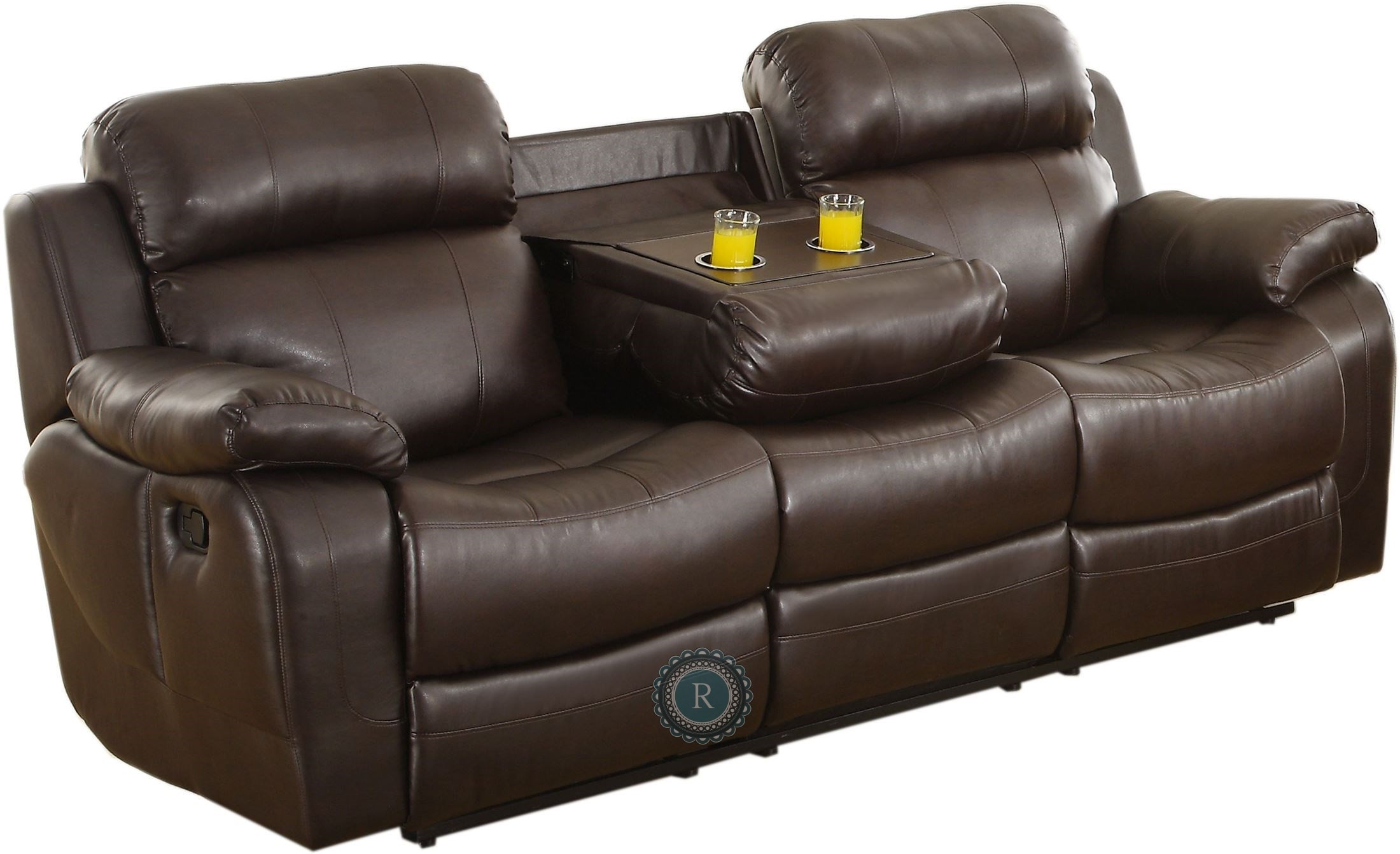 Marille Dark Brown Double Reclining Sofa With Center Drop
