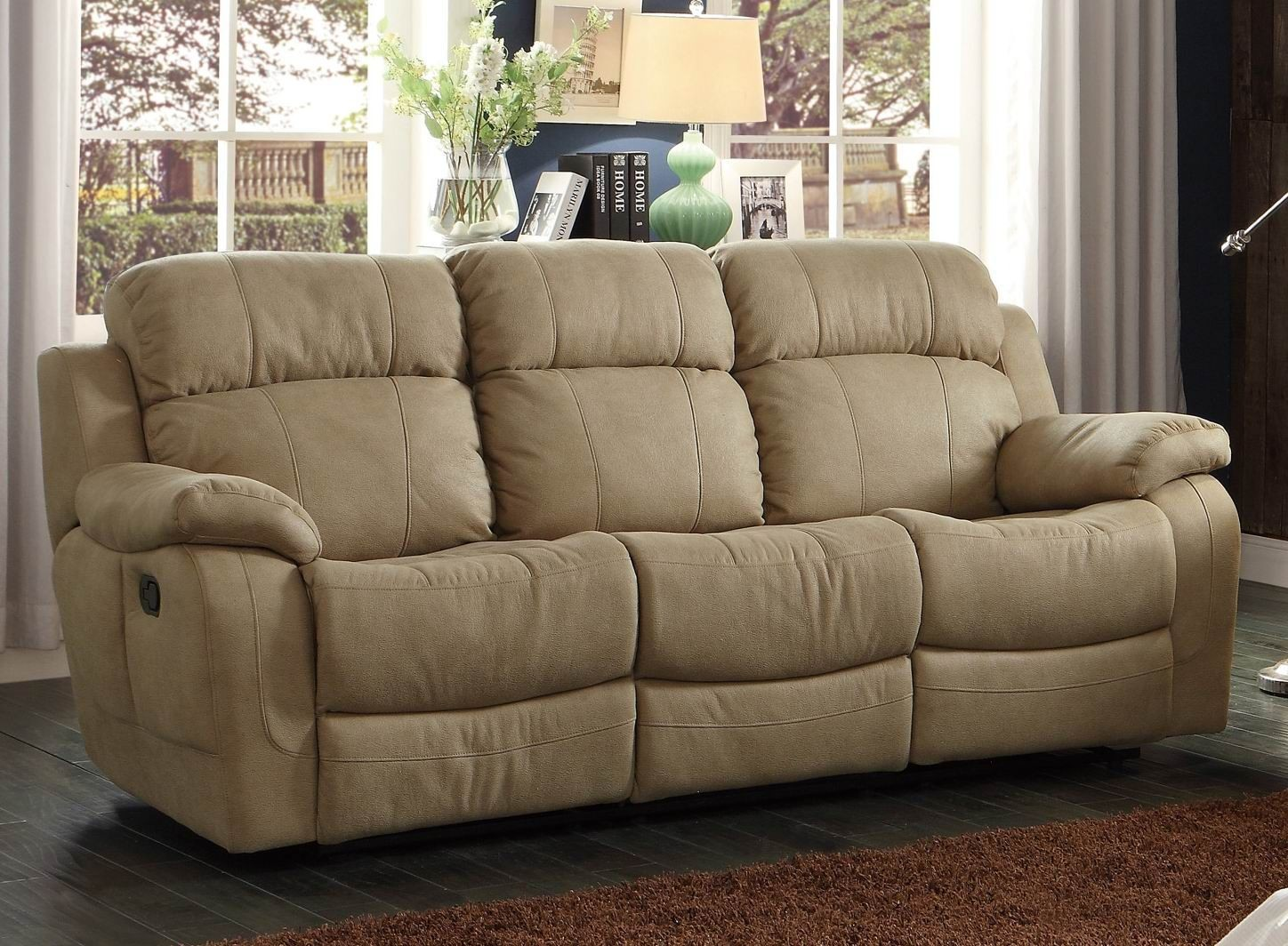 marille camel double reclining sofa with center drop down cup holder