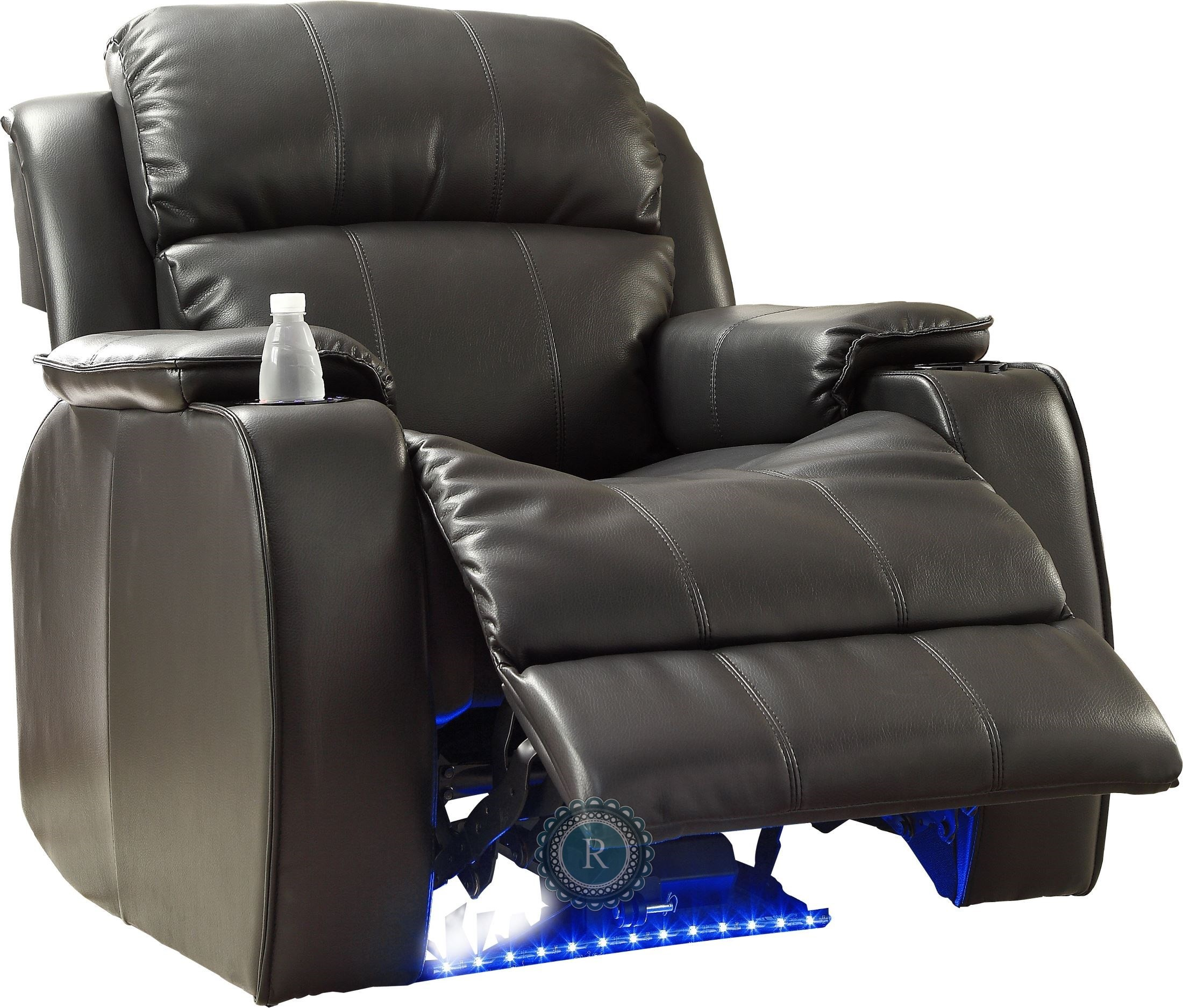 Jimmy Black Power Reclining Chair with Massage LED & Cup Cooler