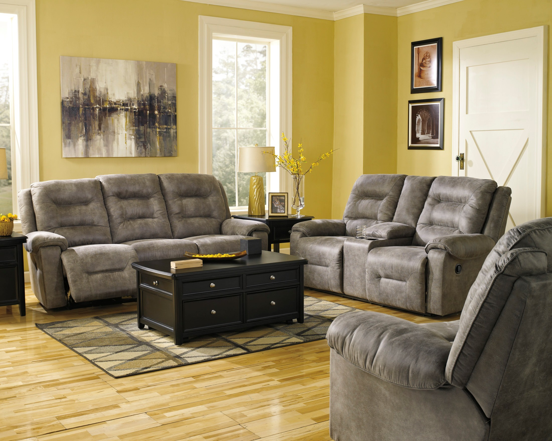 reclining living room furniture sets. Rotation Smoke Reclining Living Room Set From Ashley (97501-88-94) |  Coleman Furniture Reclining Living Room Furniture Sets E