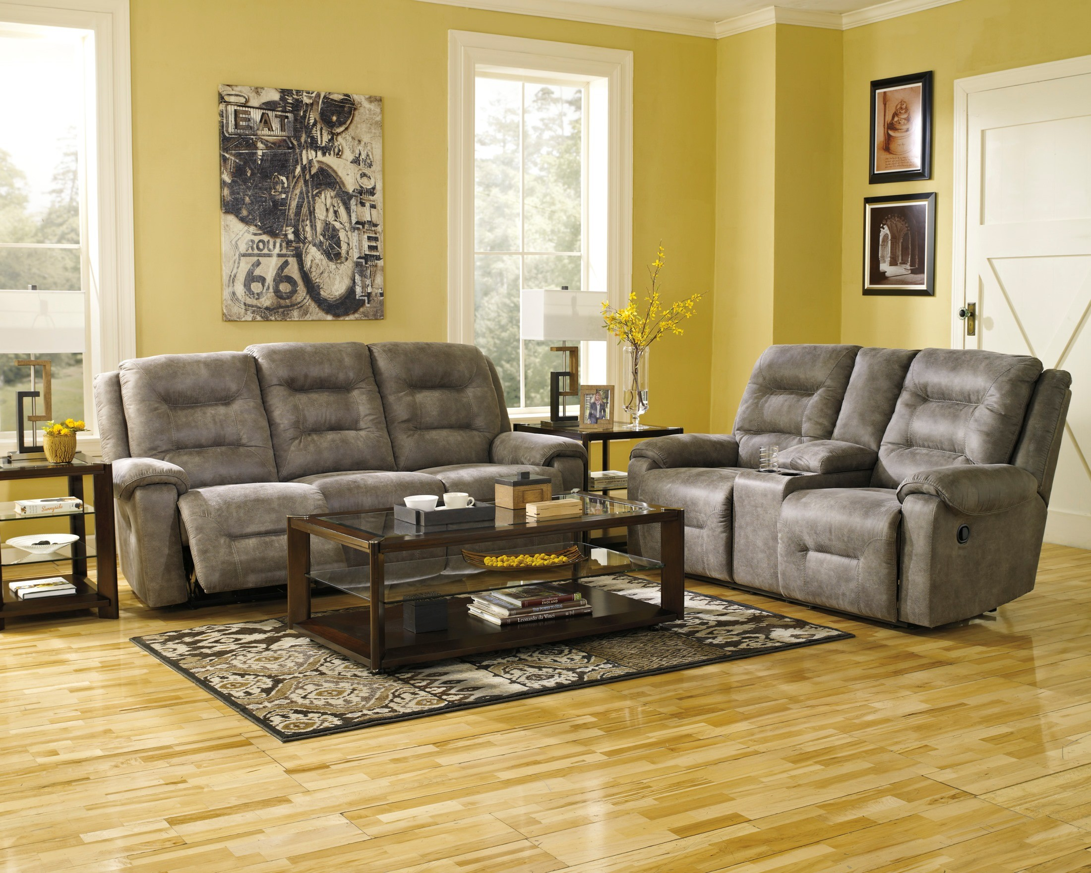 Rotation Smoke Reclining Living Room Set From Ashley