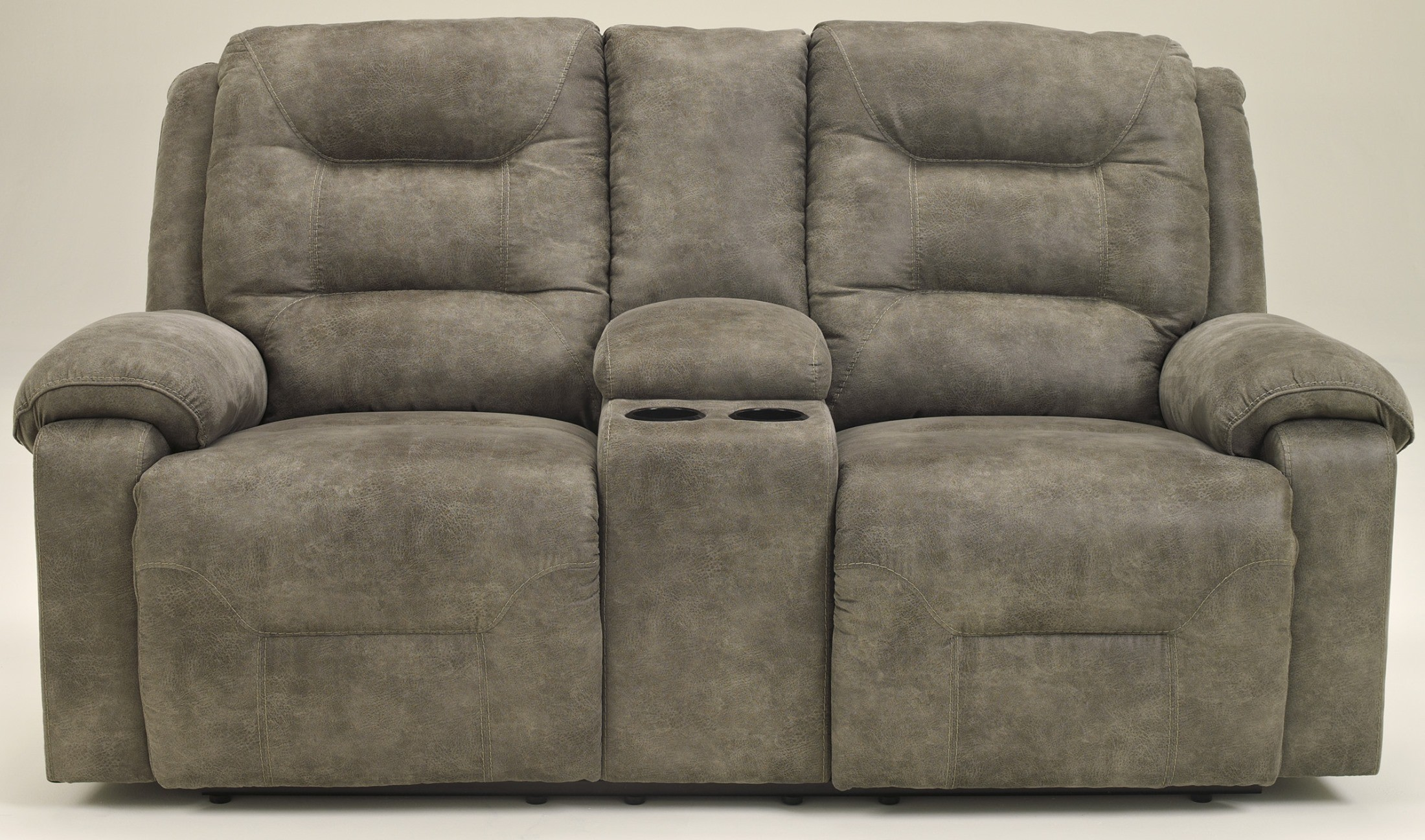 Rotation Smoke Double Reclining Loveseat With Console From Ashley 9750194 Coleman Furniture