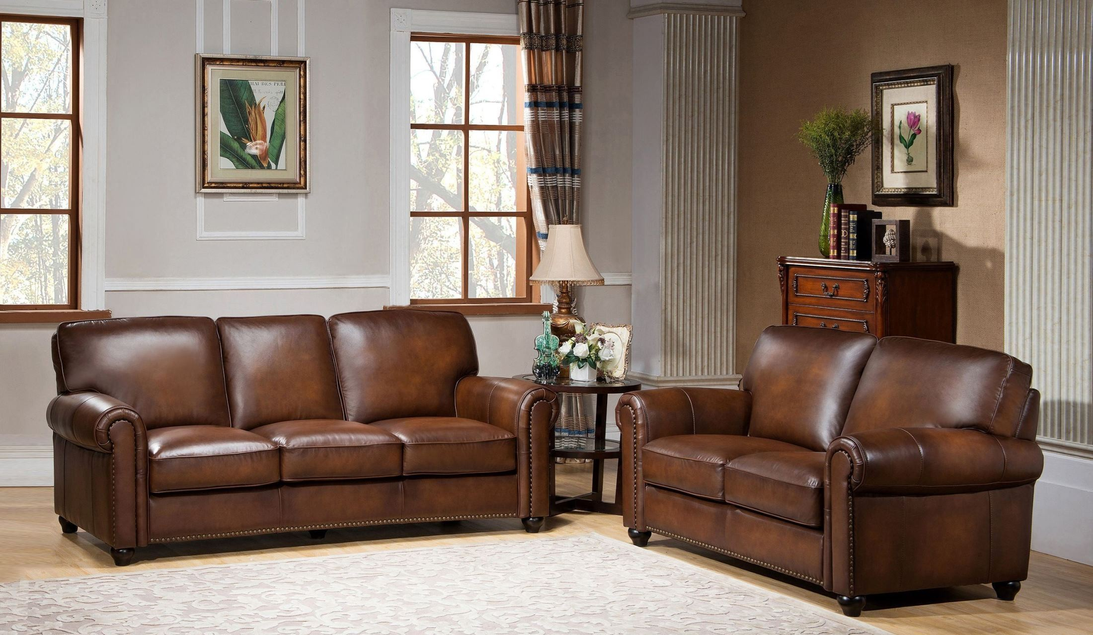 royale camel brown leather living room set from amax