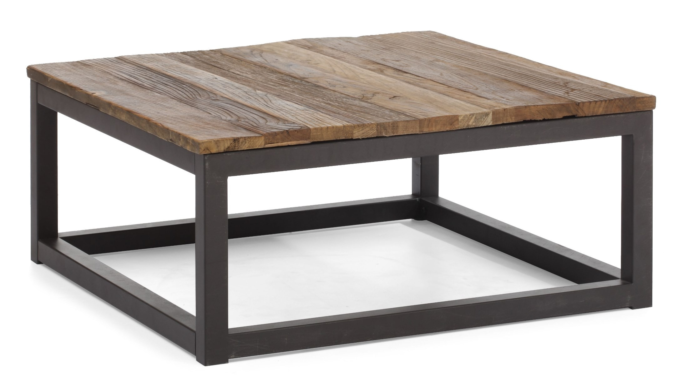 Civic center distressed natural square coffee table from for Center coffee table furniture