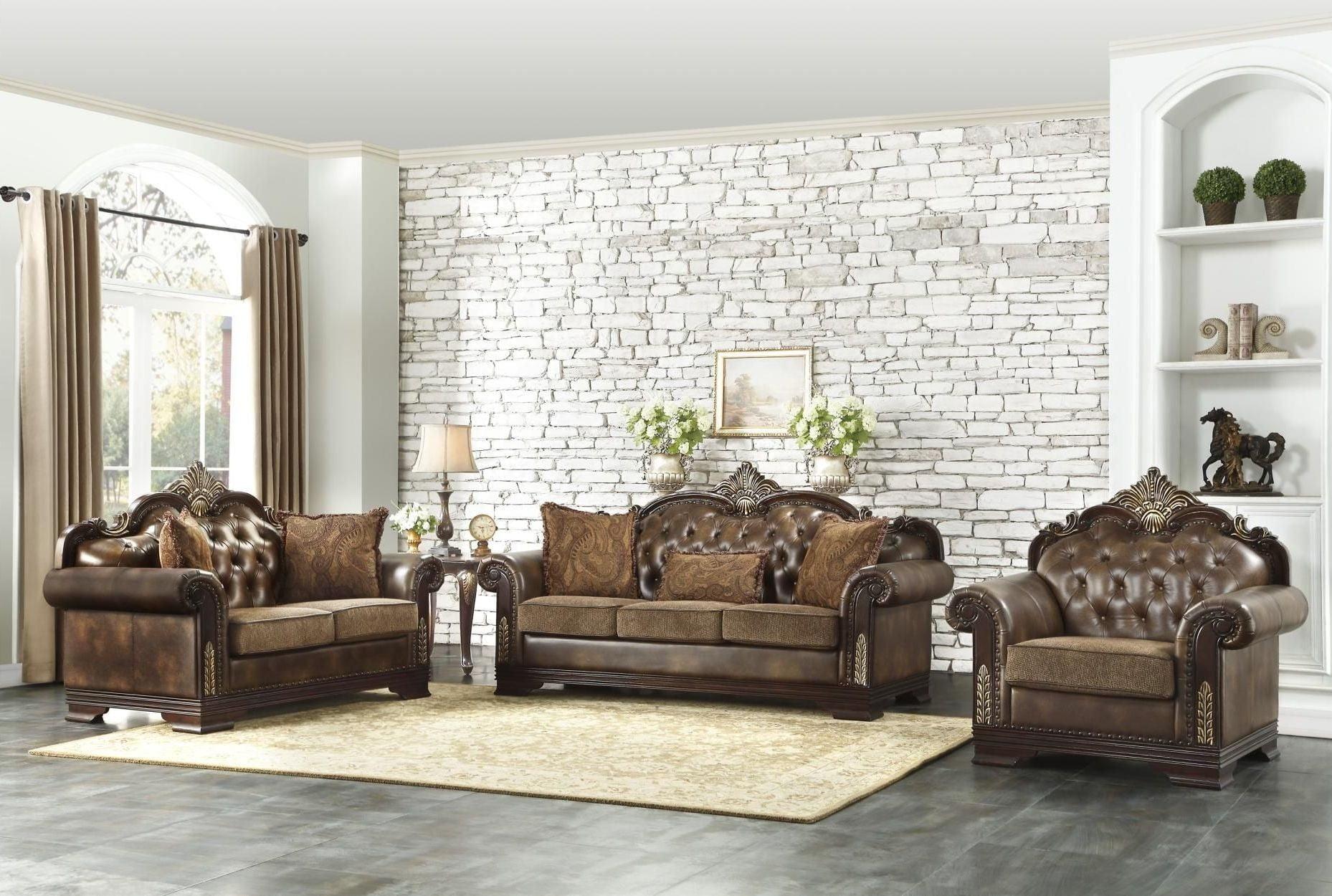 Croydon Brown Living Room Set from Homelegance | Coleman Furniture