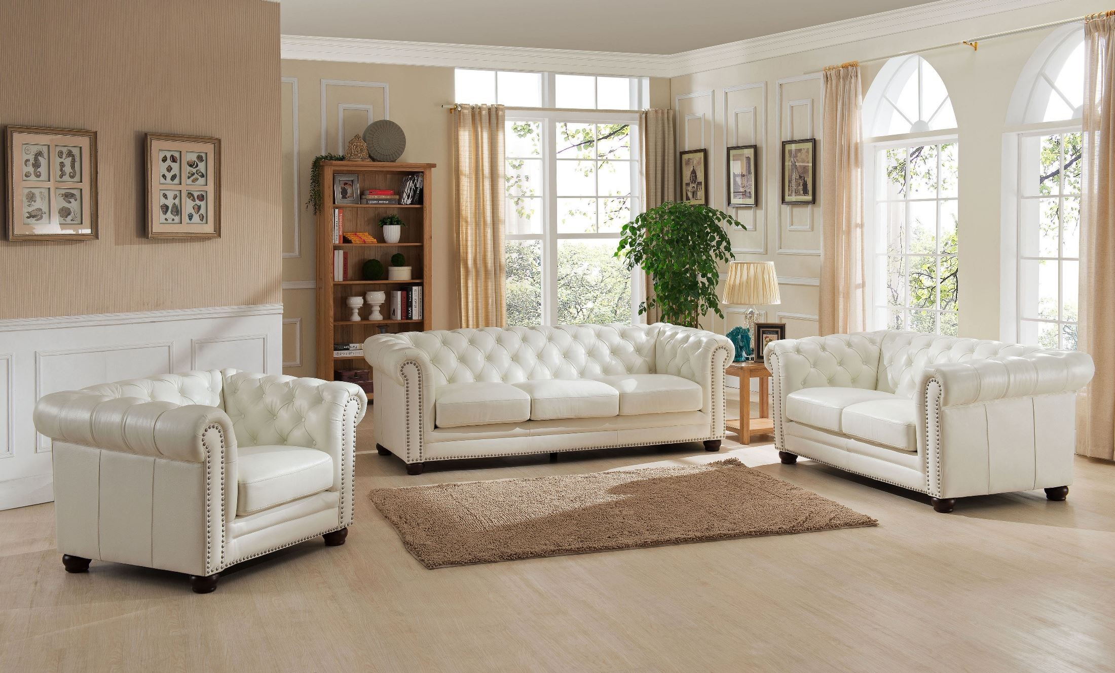 Monaco Pearl White Leather Sofa from Amax Leather