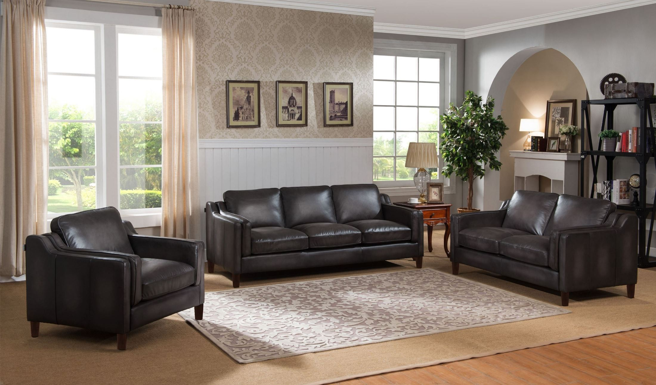 Ballari weathered grey leather living room set from amax for Grey front room furniture