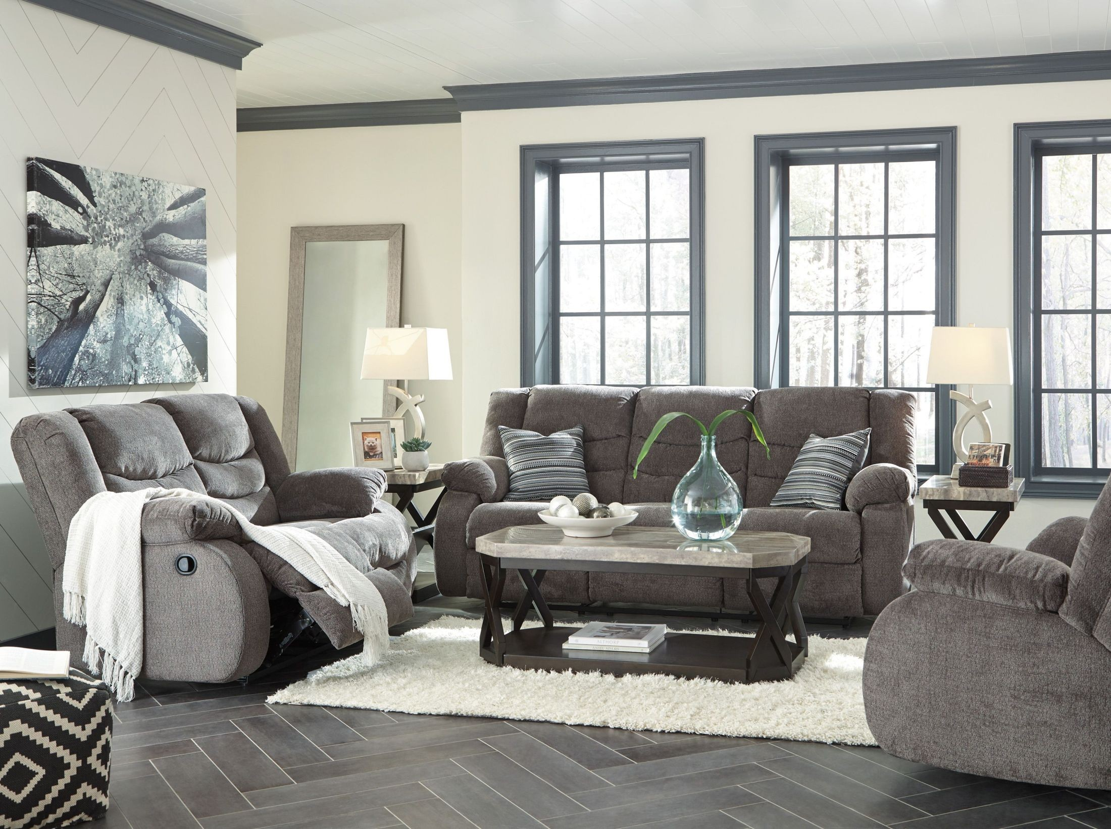 Tulen gray reclining living room set from ashley coleman for Cheap reclining living room sets