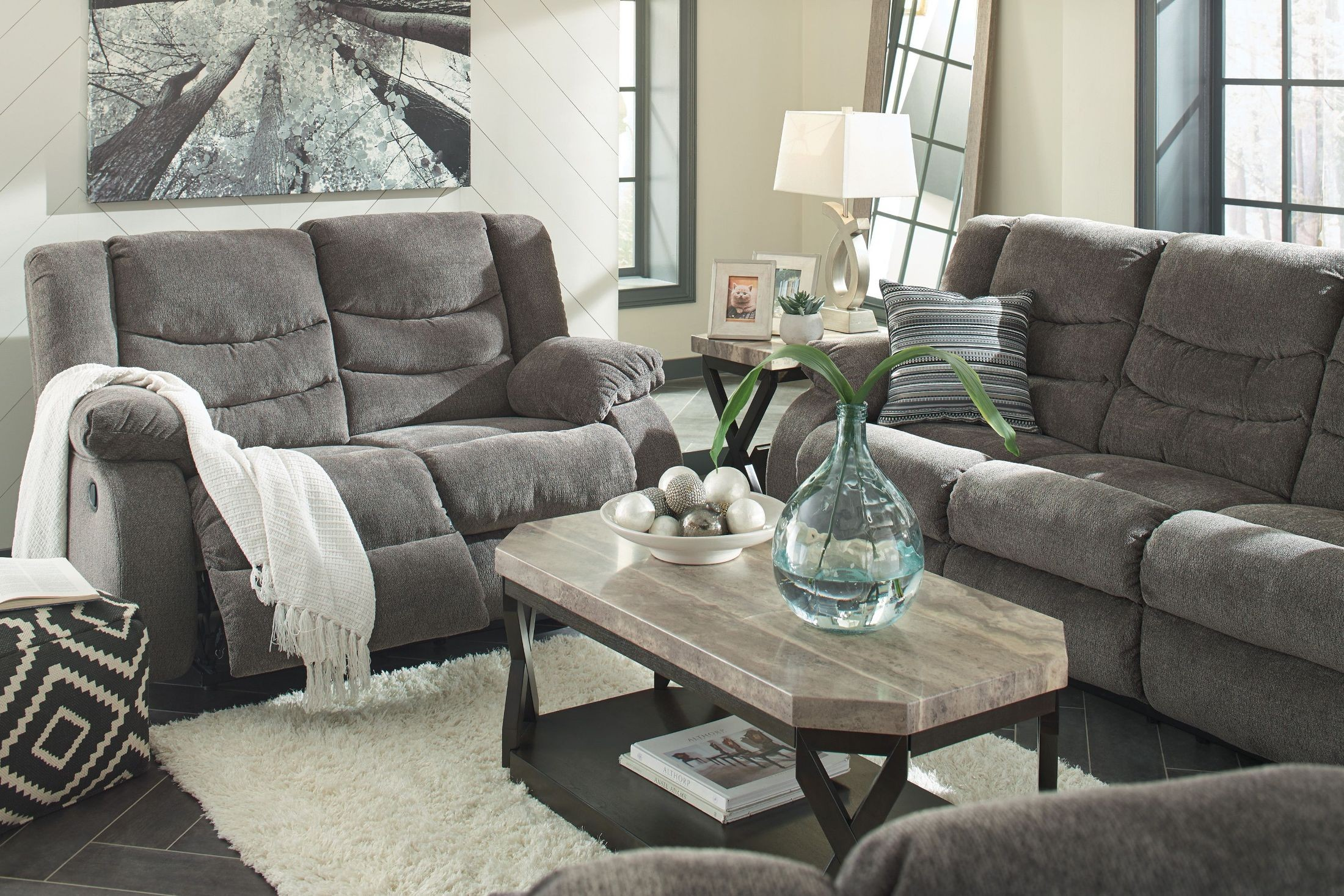 Furniture For Living Rooms: Tulen Gray Reclining Living Room Set From Ashley
