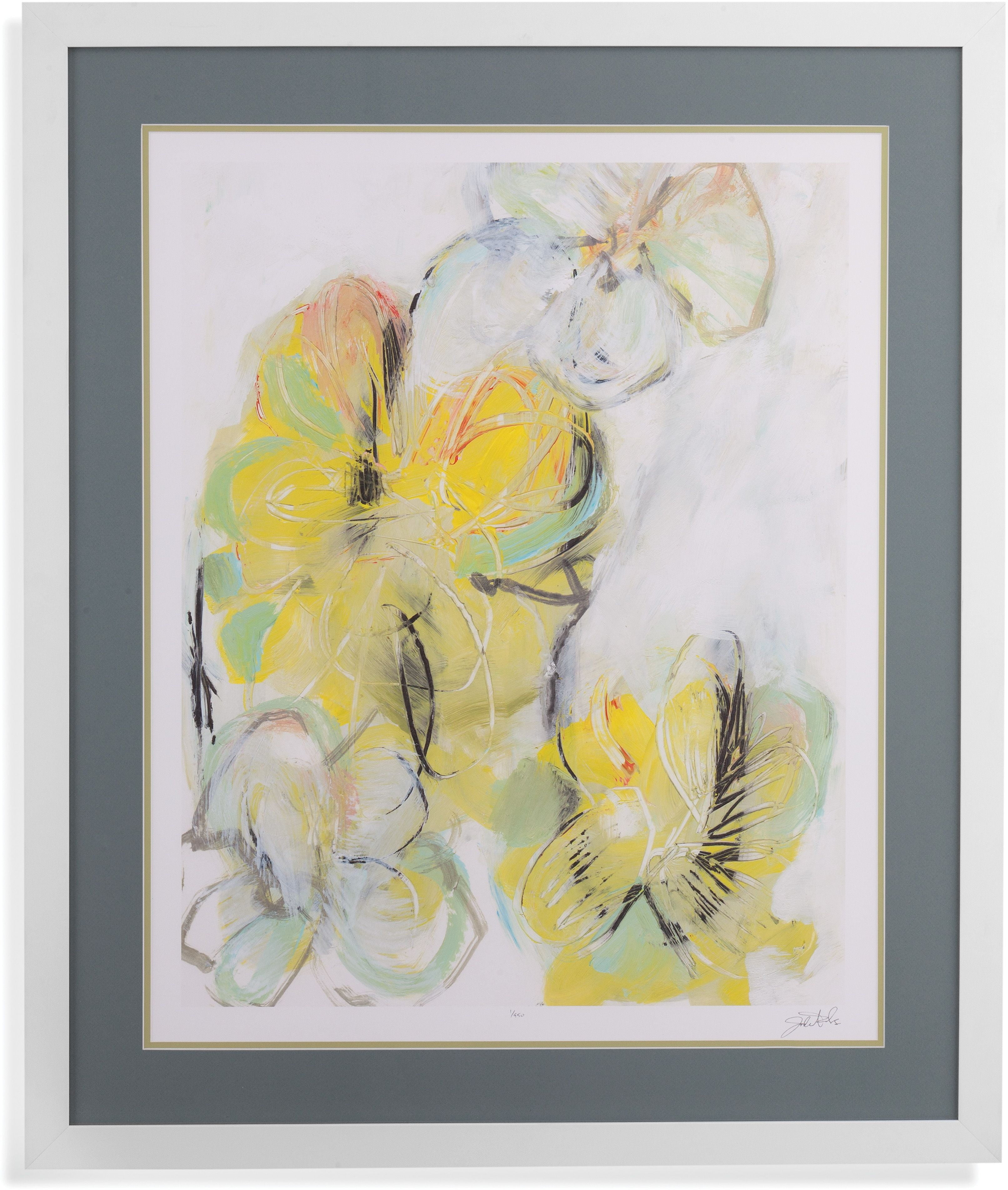 Metro White and Yellow Floral Abstract II Wall Art from Bassett ...