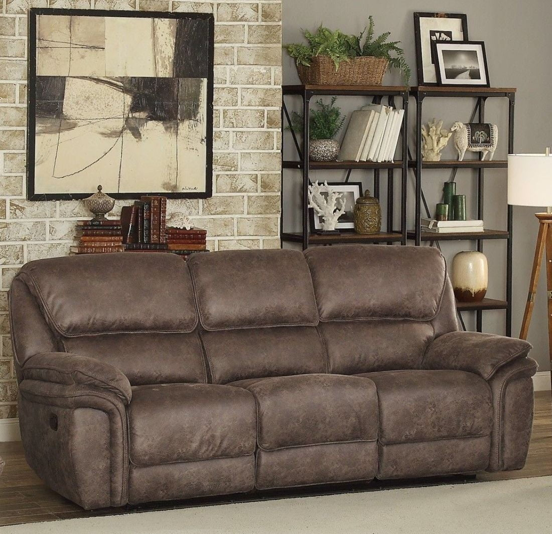 Hadden Dark Brown Double Reclining Living Room Set From