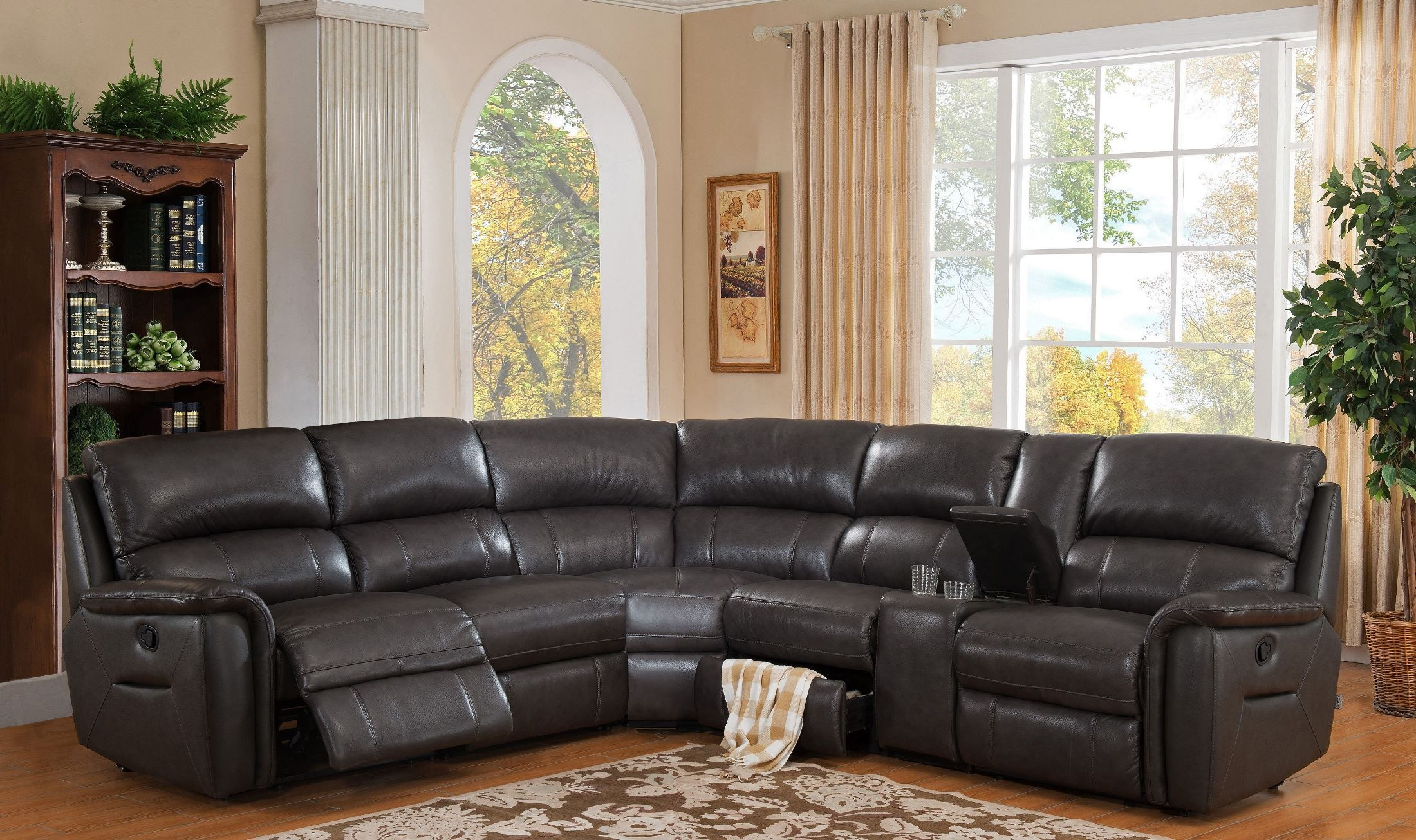 camino charcoal grey reclining sectional from amax leather coleman furniture. Black Bedroom Furniture Sets. Home Design Ideas