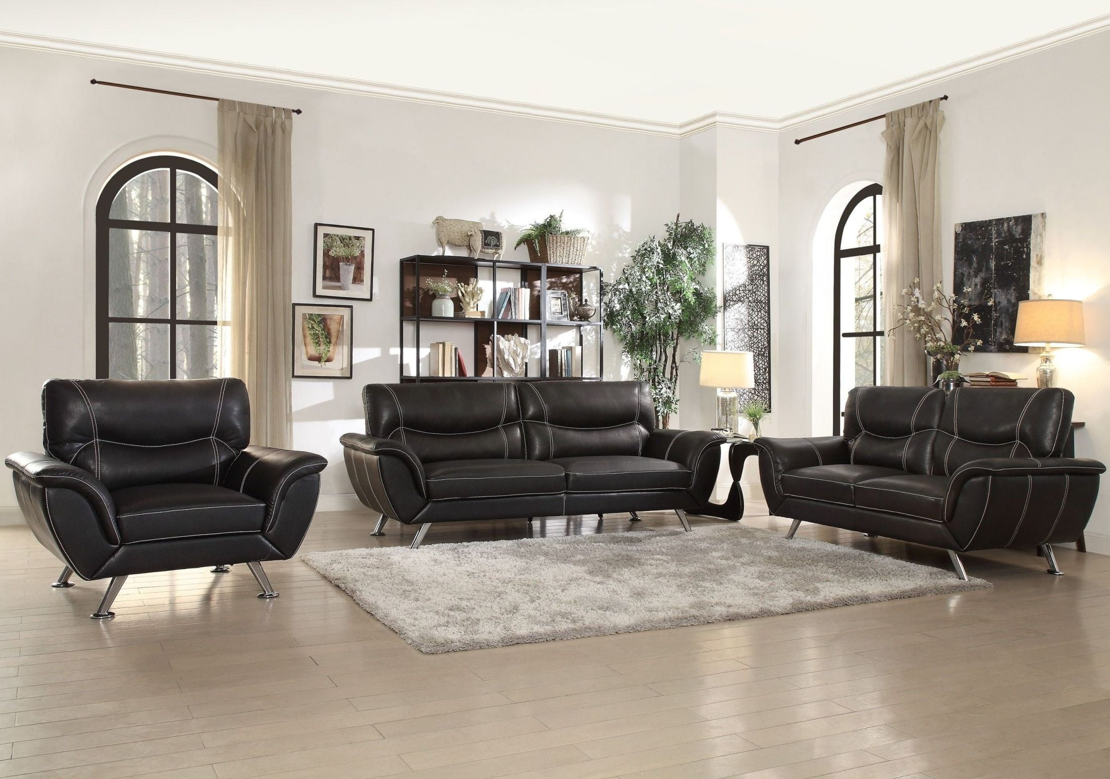 sofa leather product colors coaster room living state b products silver set black sets samuel color
