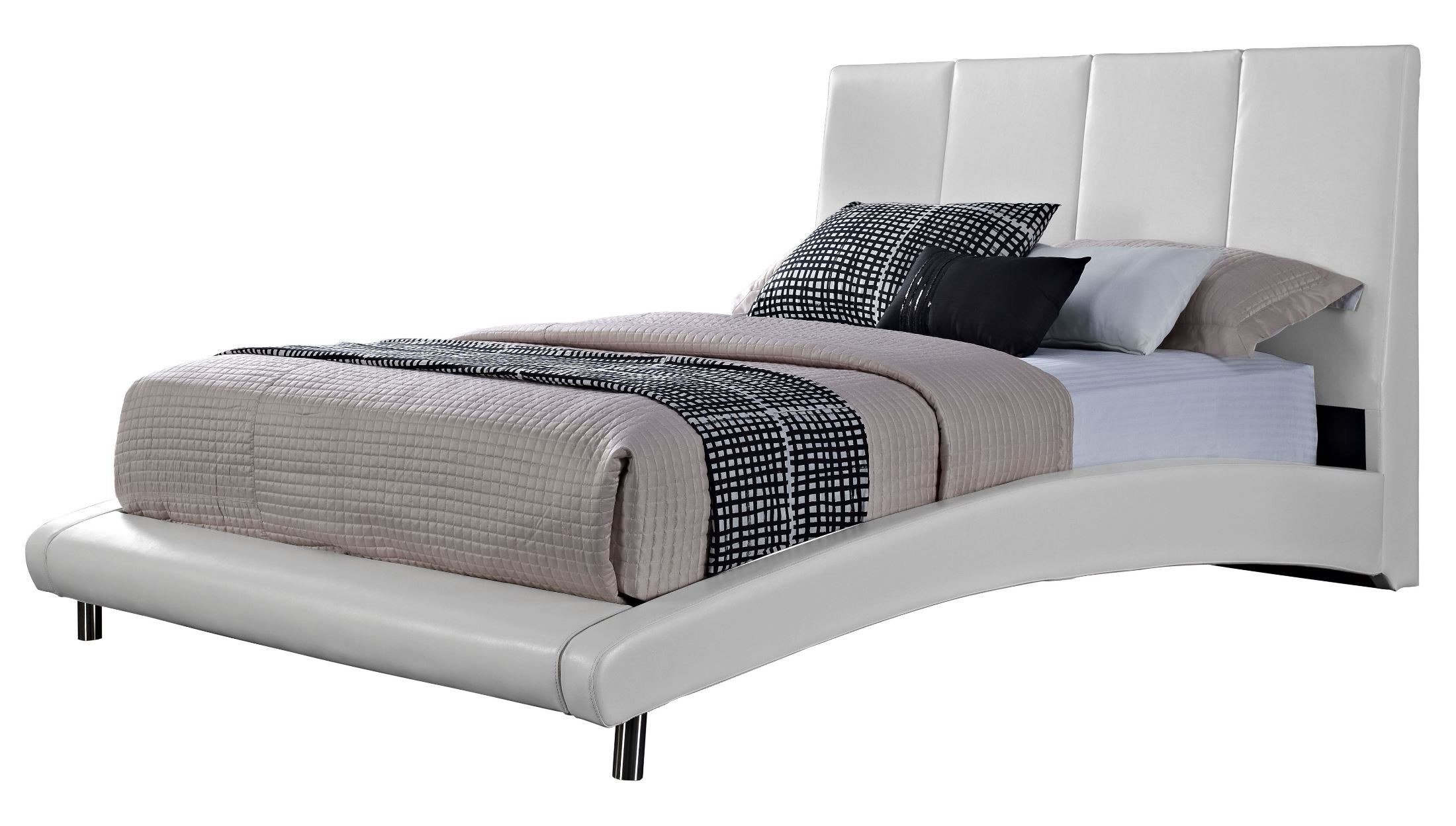 Moderno white king upholstered bed from standard 99517 18 for Moderno furniture