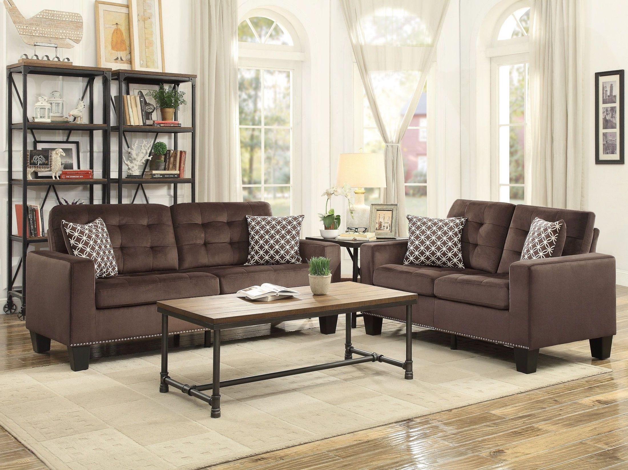 Beautiful Lantana Chocolate Living Room Set