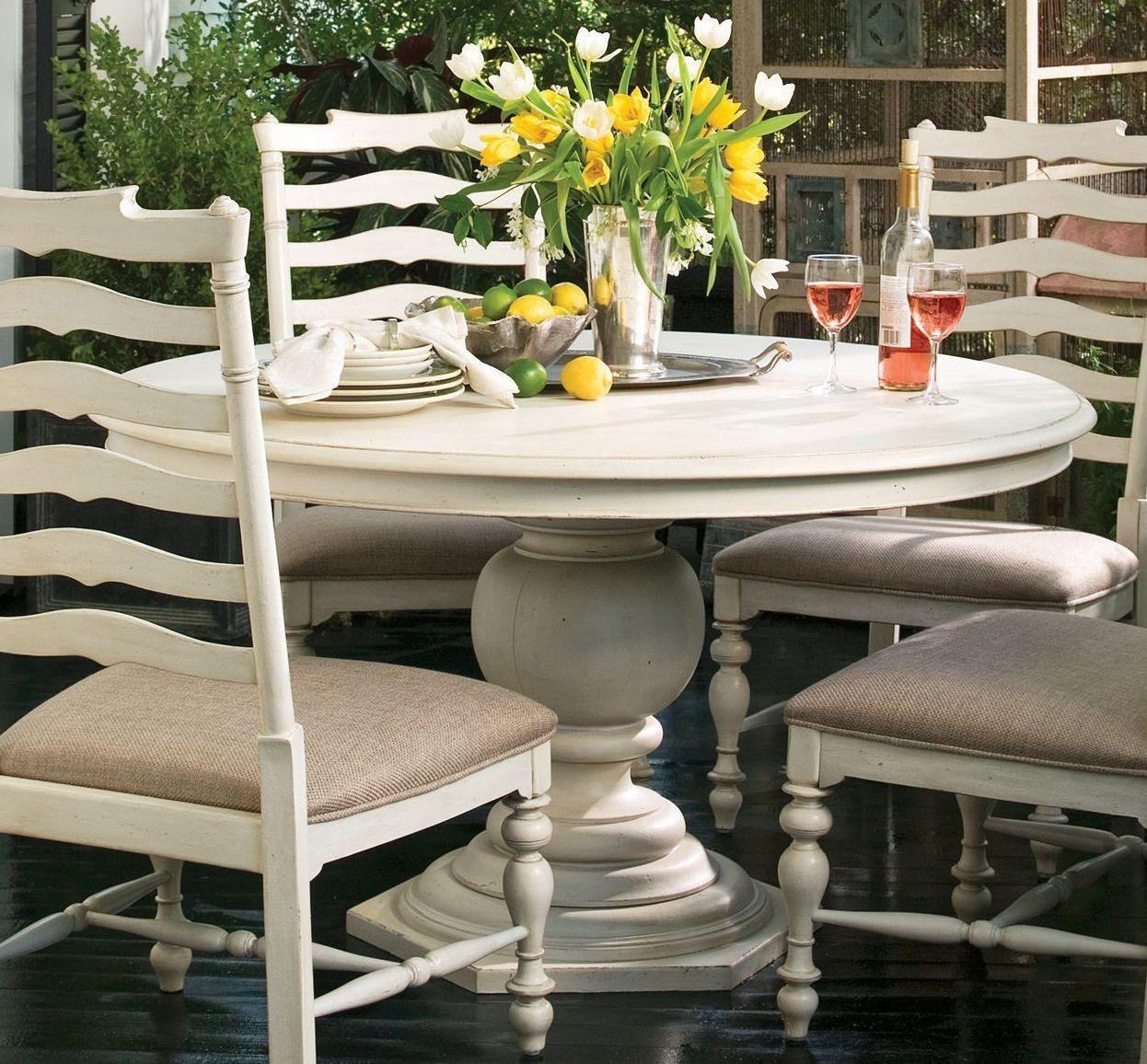 paula deen home linen round pedestal extendable dining table from paula deen 996655 coleman. Black Bedroom Furniture Sets. Home Design Ideas