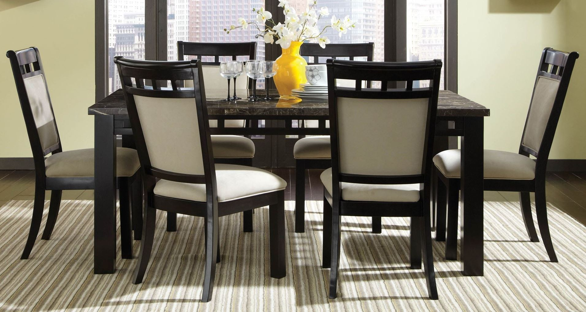 Gateway brown and gray rectangular dining room set from for Brown dining room set