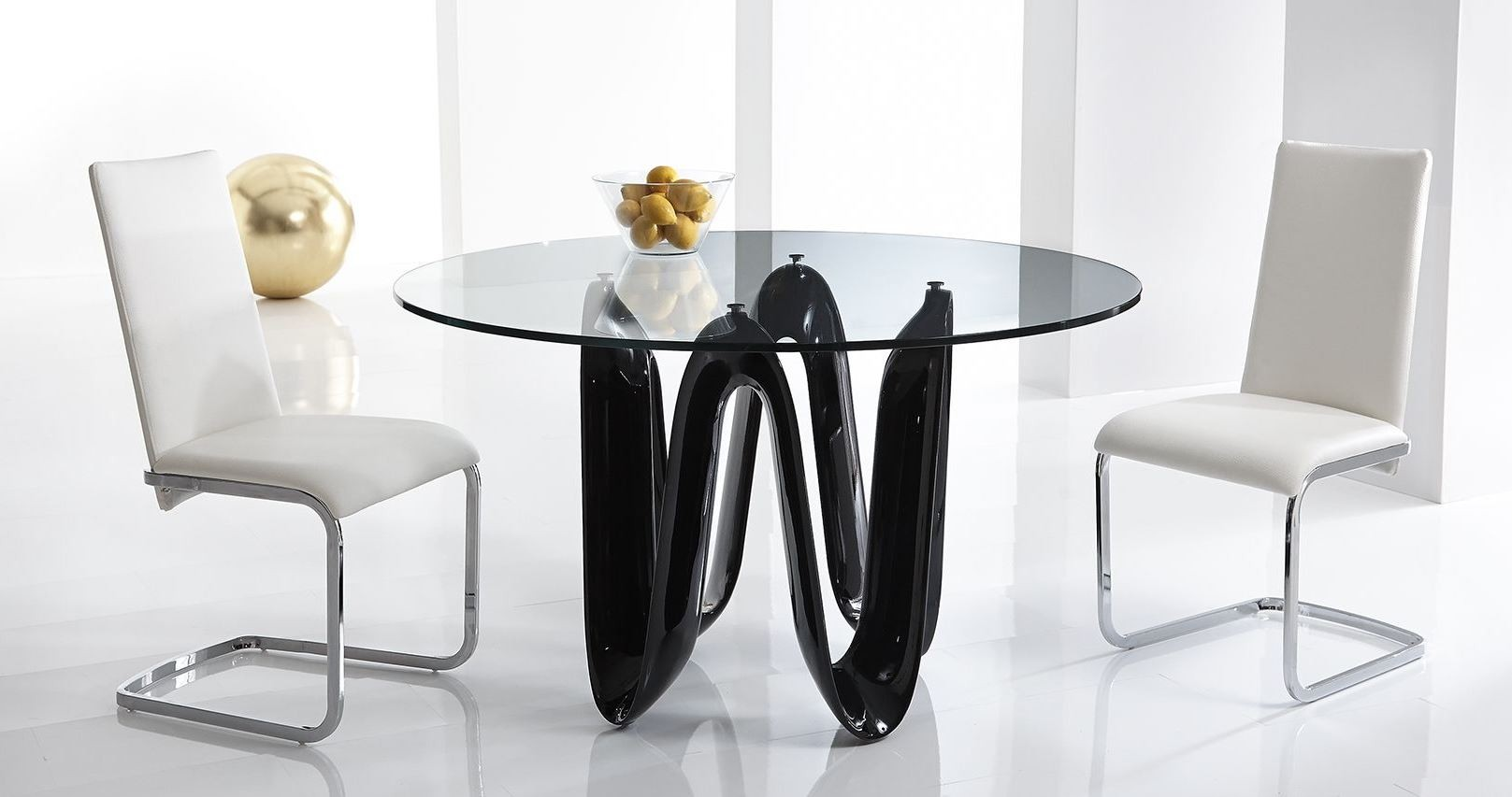 """Sapphire Black 52"""" Round Dining Table From Bellini Modern"""