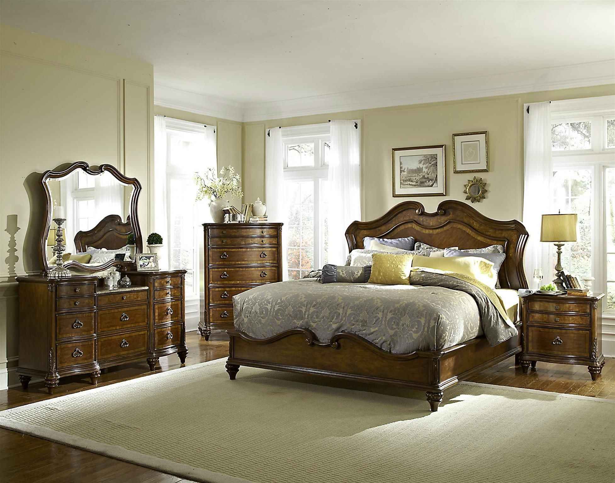 Marisol brighton cherry panel bedroom set from fairmont for Q furniture brighton co
