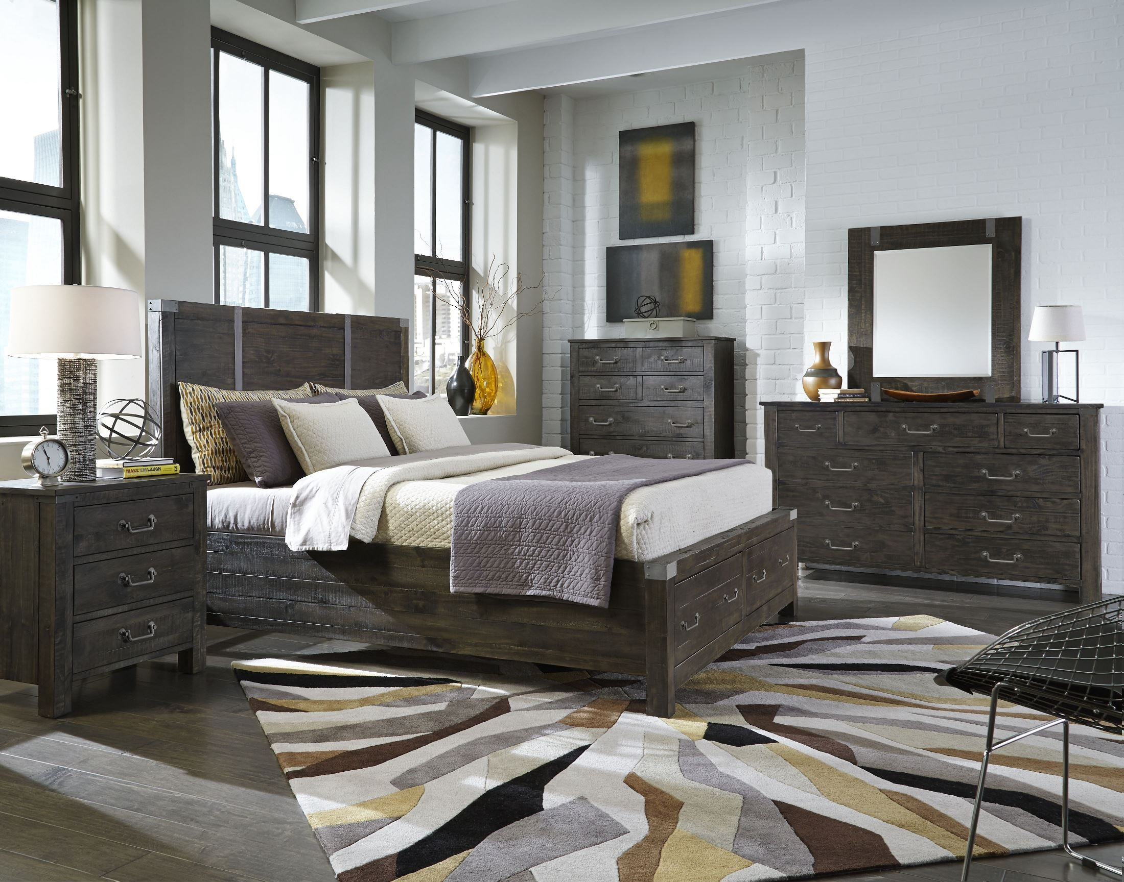 Abington Weathered Charcoal Storage Panel Bedroom Set From Magnussen Home Coleman Furniture