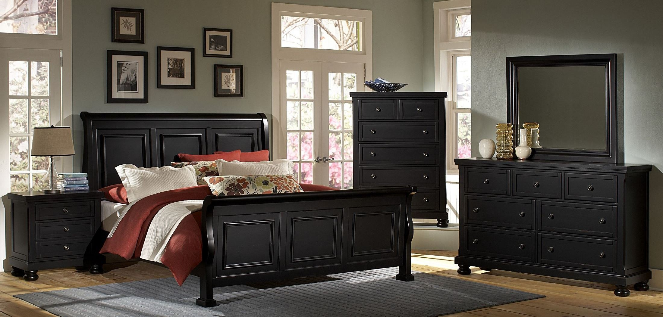 reflections ebony sleigh bedroom set from virginia house