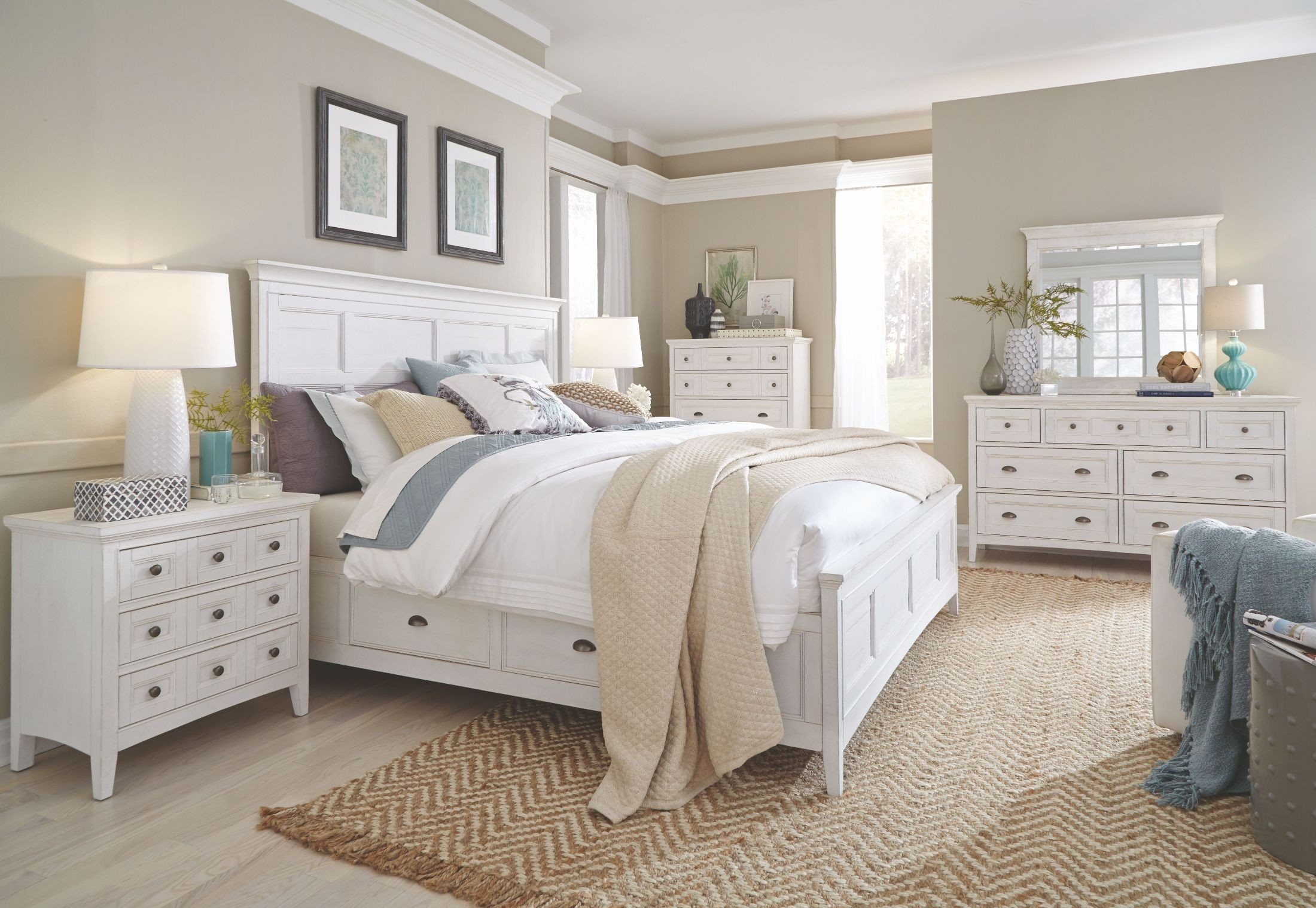 Heron cove chalk white storage panel bedroom set from - Dresser for small room ...