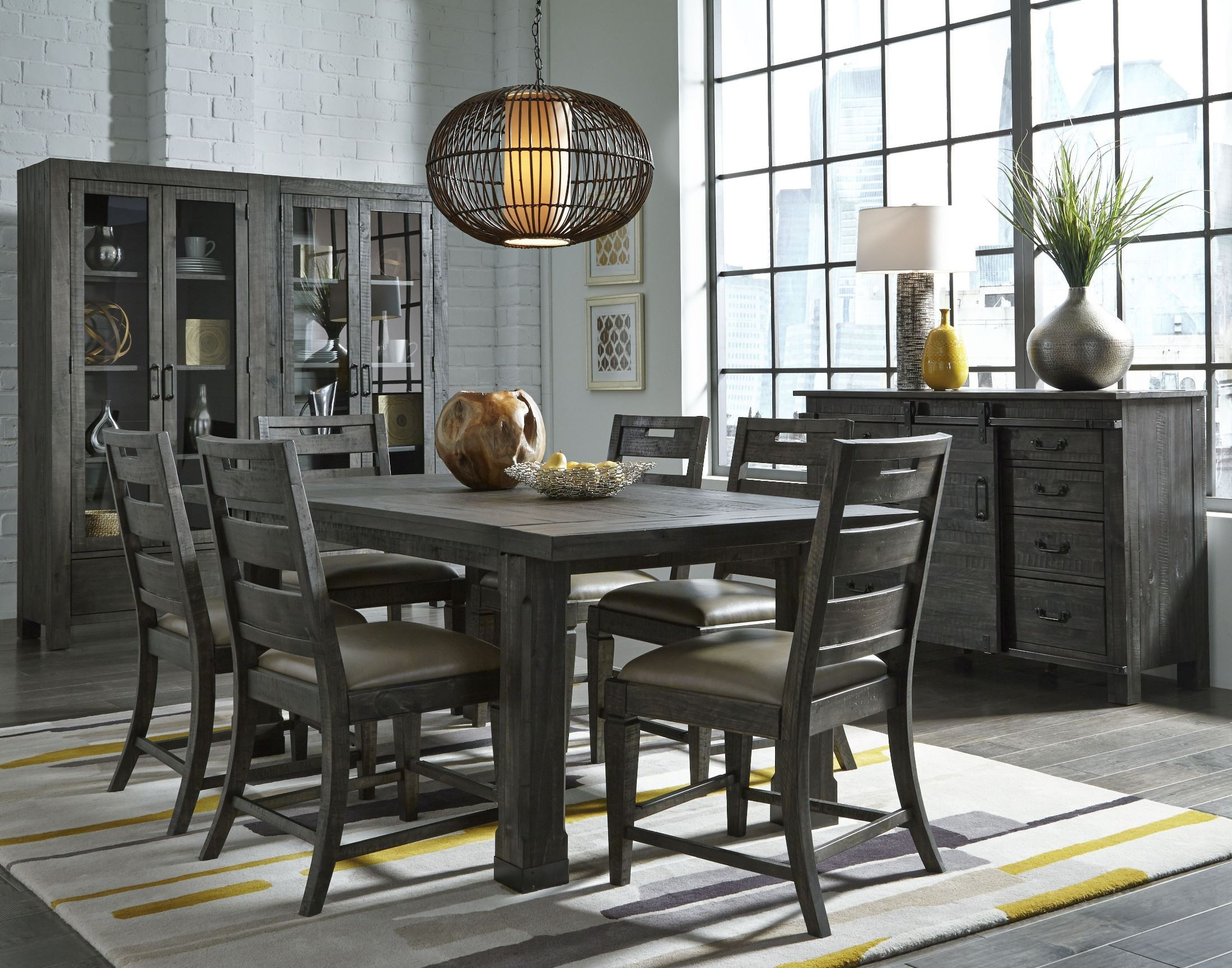 Abington Weathered Charcoal Rectangular Dining Room Set
