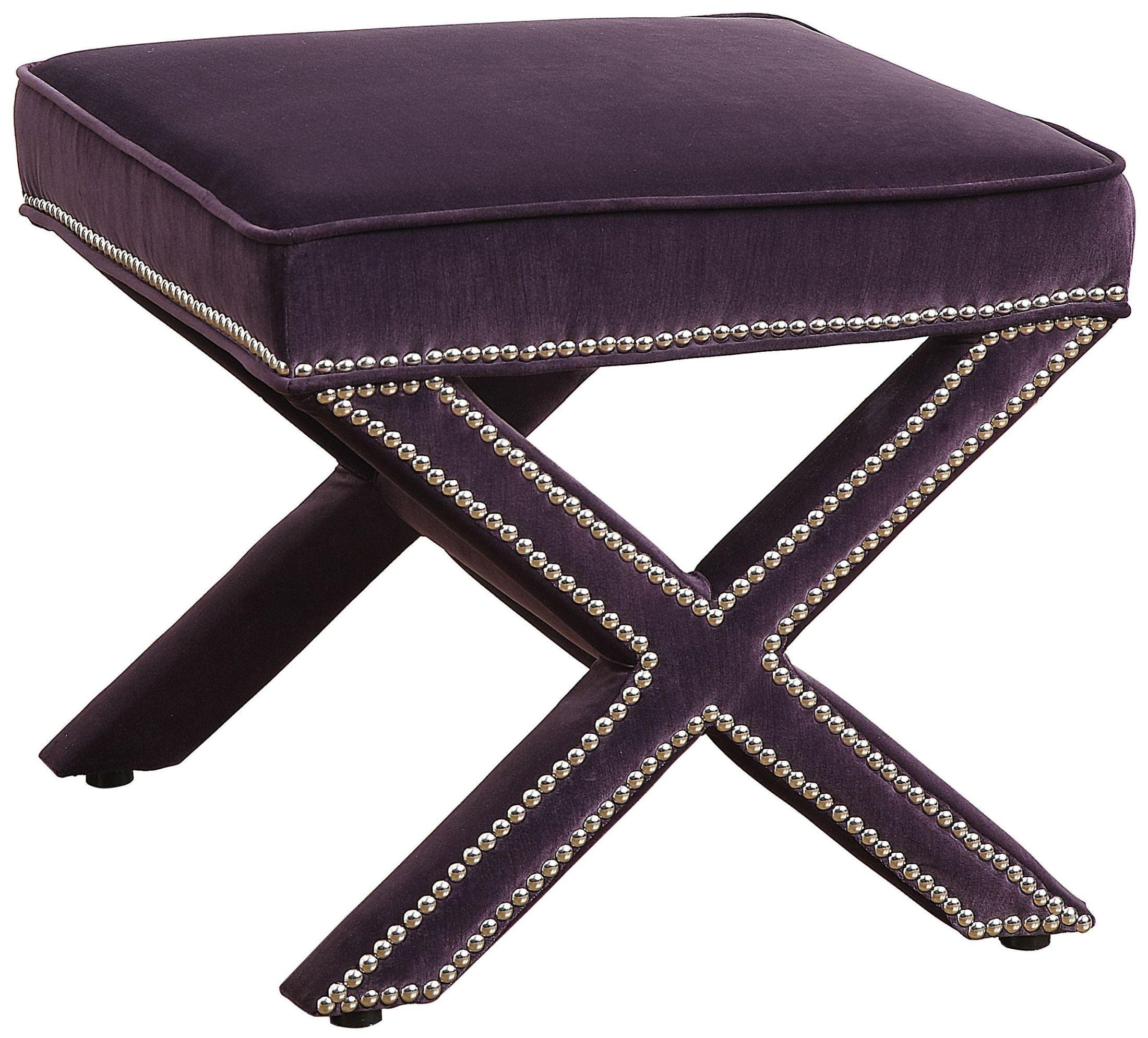 Reese Purple Velvet Ottoman From Tov Tov O17 Purple